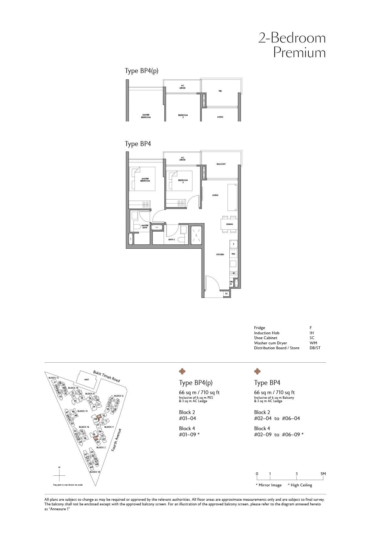 Fourth Avenue Residences Floor Plan 2 Bedroom Premium Type BP4