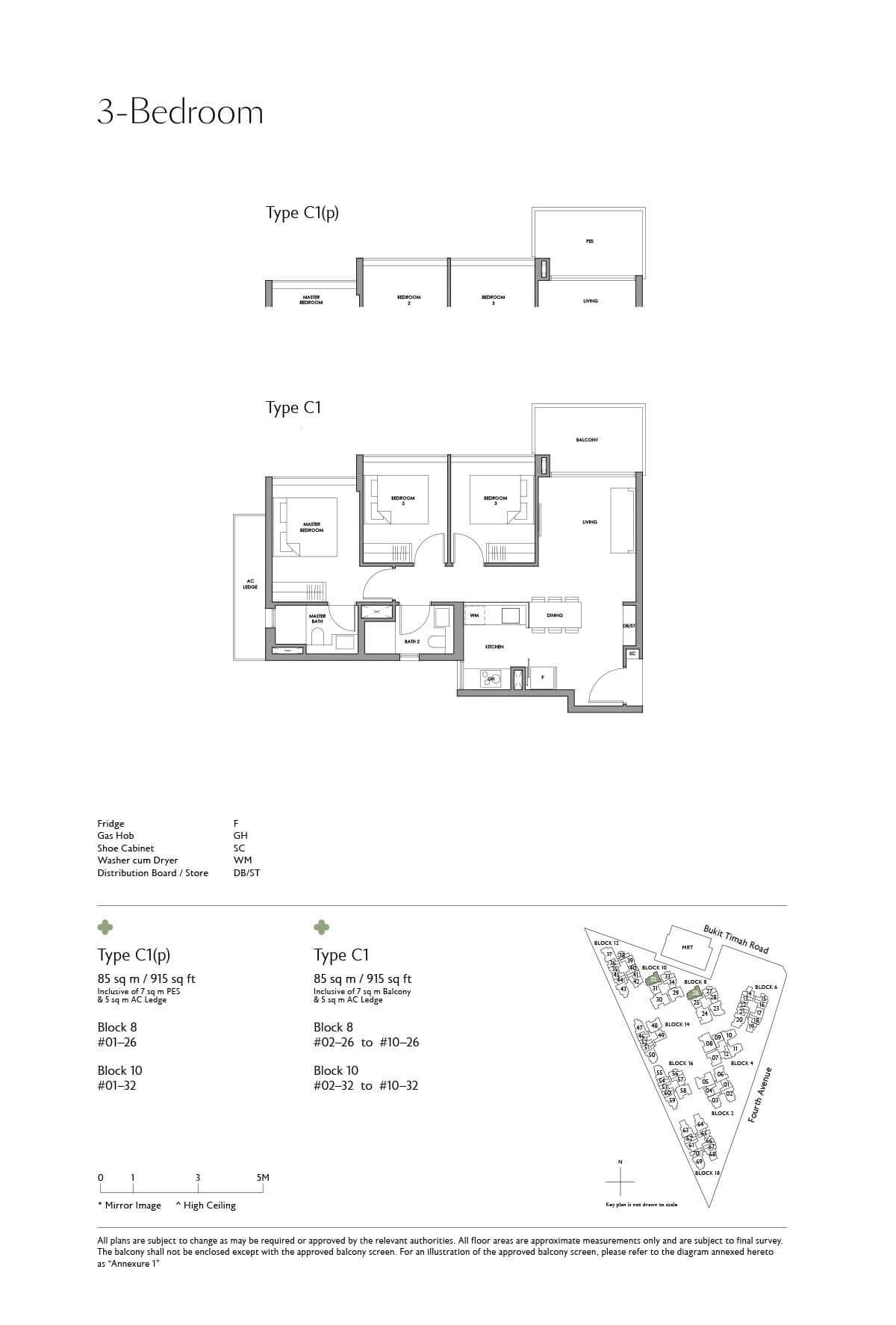Fourth Avenue Residences Floor Plan 3 Bedroom Type C1