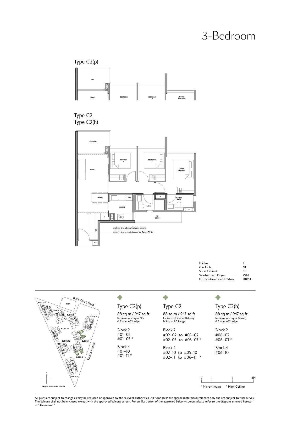 Fourth Avenue Residences Floor Plan 3 Bedroom Type C2