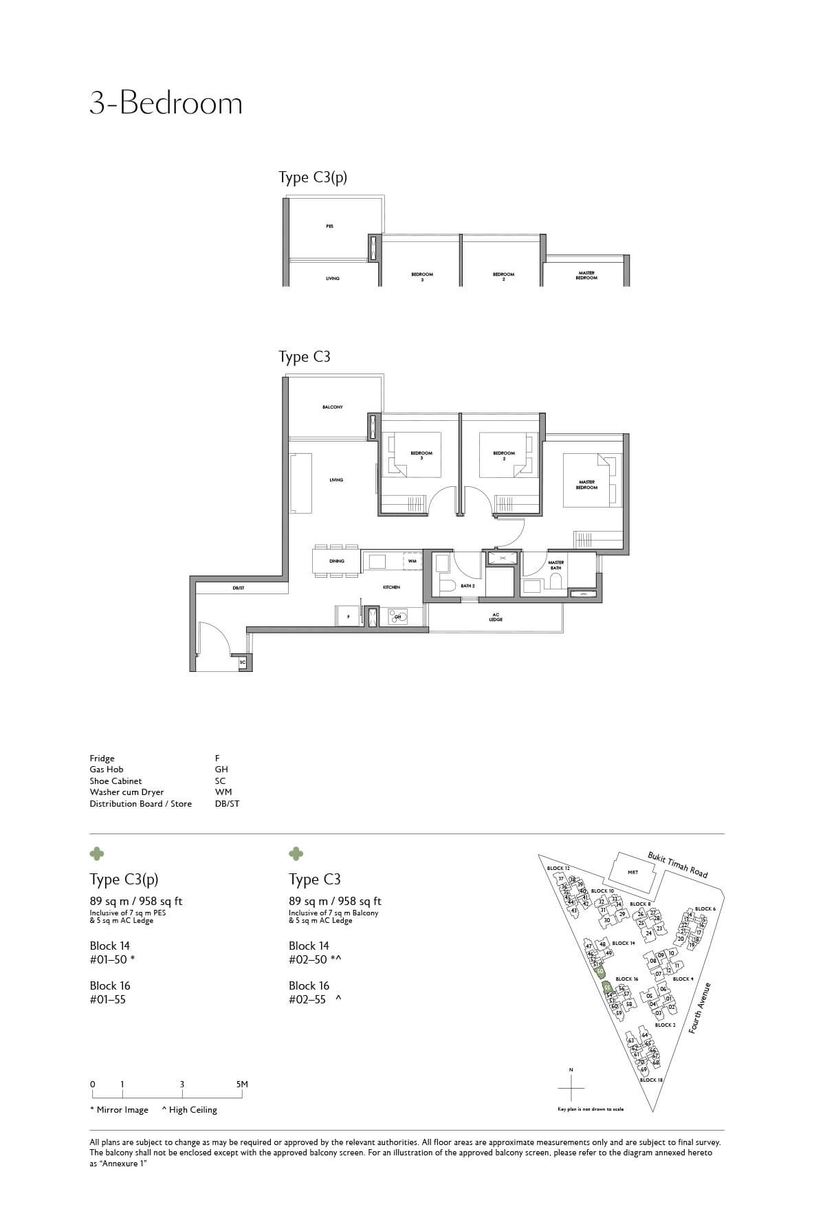 Fourth Avenue Residences Floor Plan 3 Bedroom Type C3