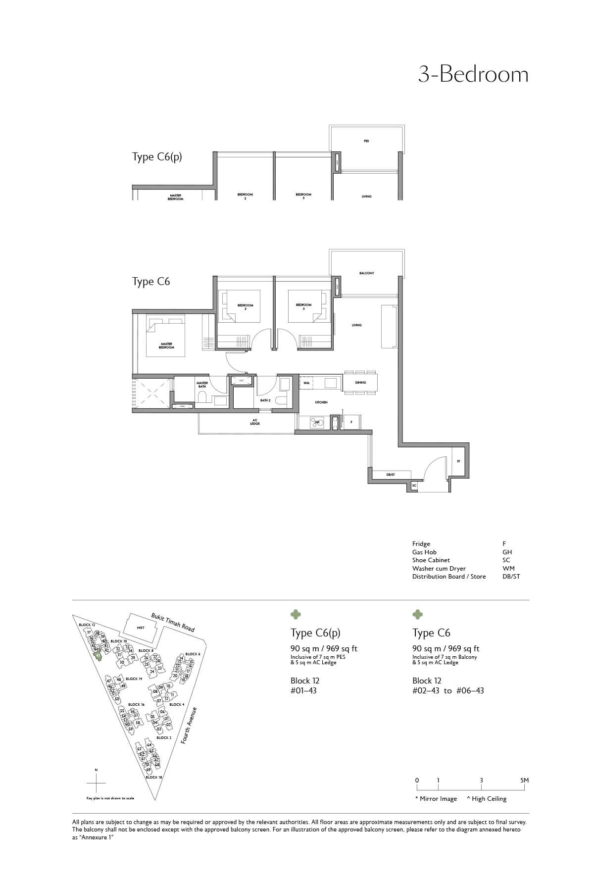 Fourth Avenue Residences Floor Plan 3 Bedroom Type C6