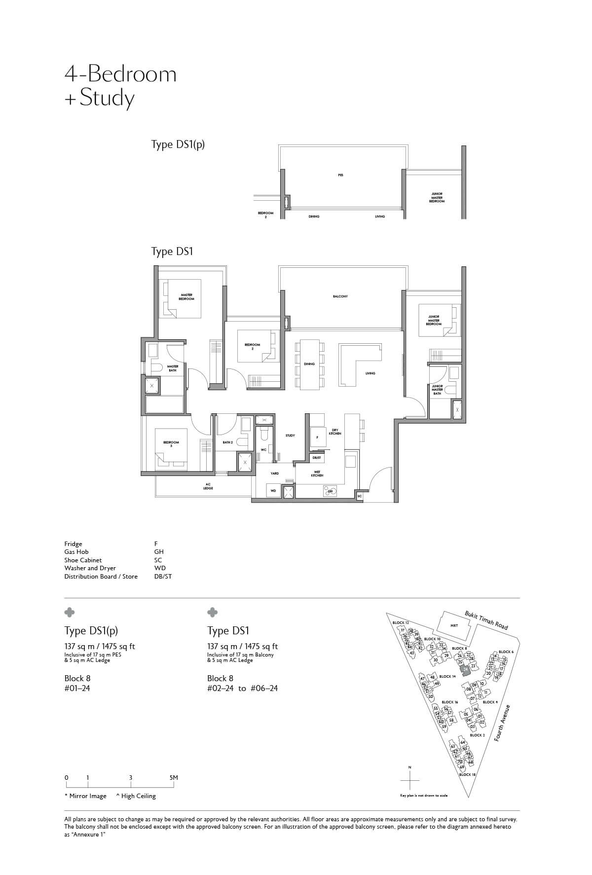 Fourth Avenue Residences Floor Plan 4 Bedroom Study Type DS1