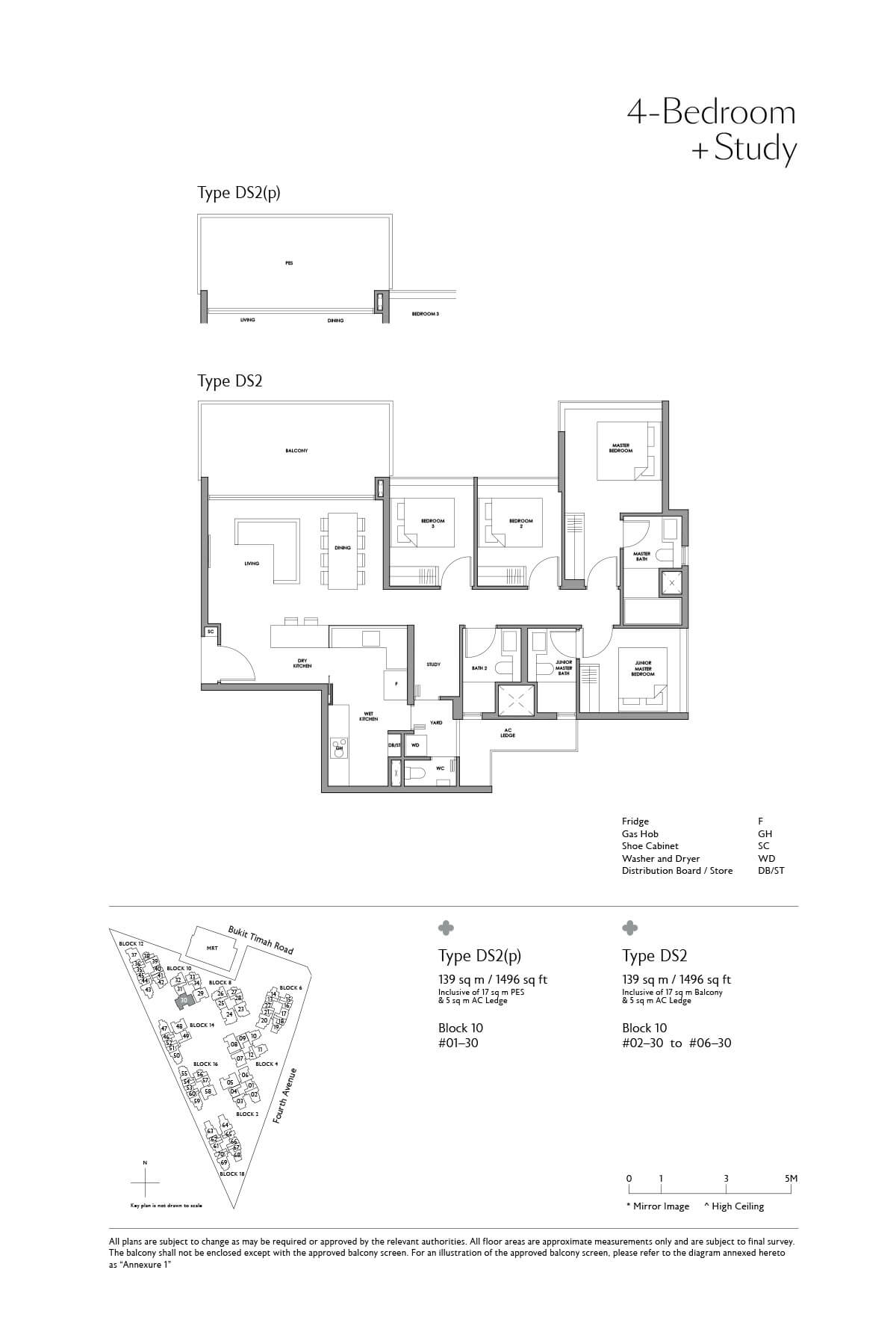Fourth Avenue Residences Floor Plan 4 Bedroom Study Type DS2