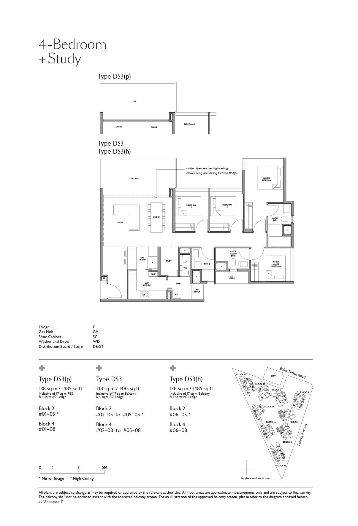 Fourth Avenue Residences Floor Plan 4 Bedroom Study Type DS3