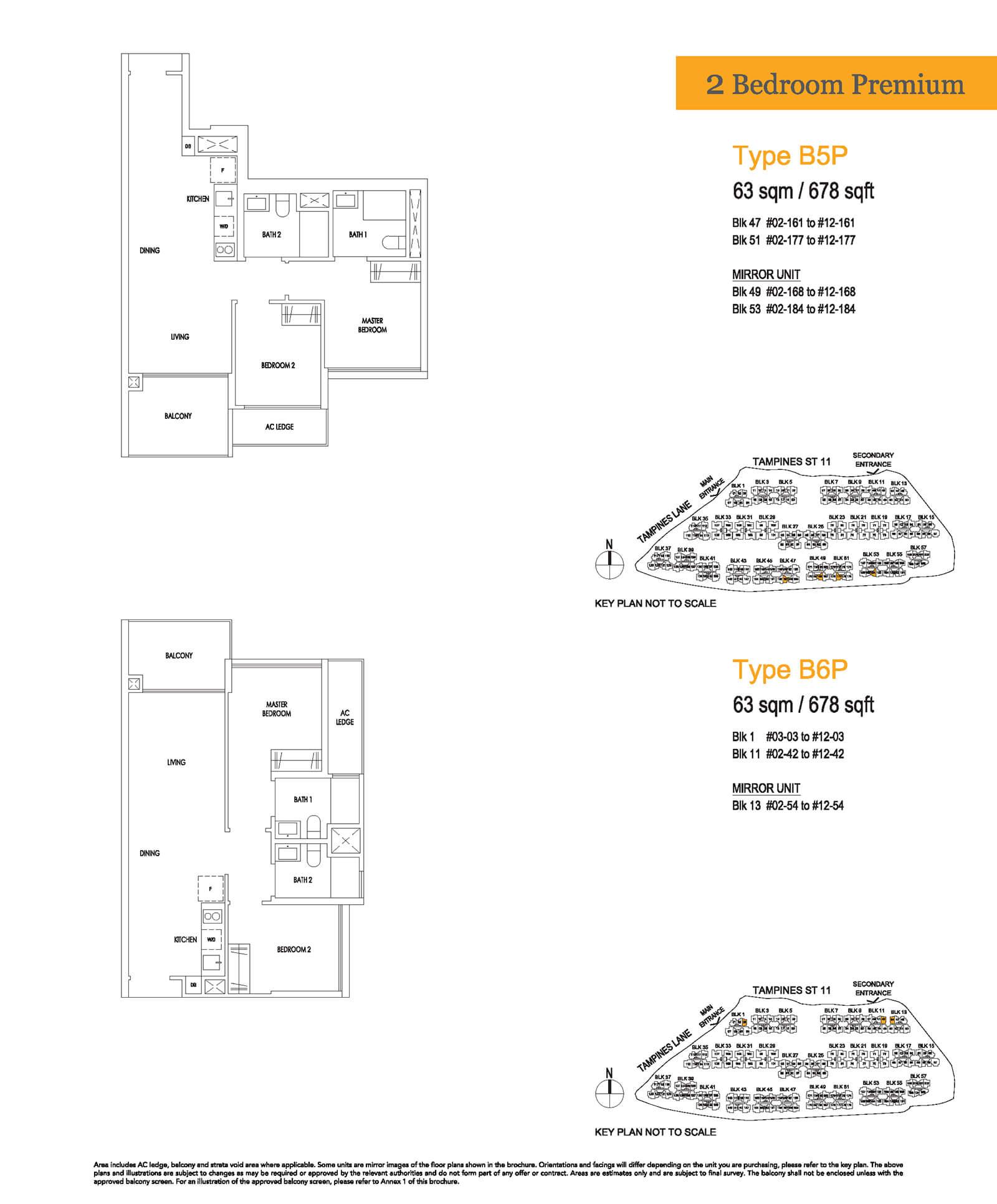Treasure At Tampines Floor Plan 2-Bedroom Premium B5P B6P