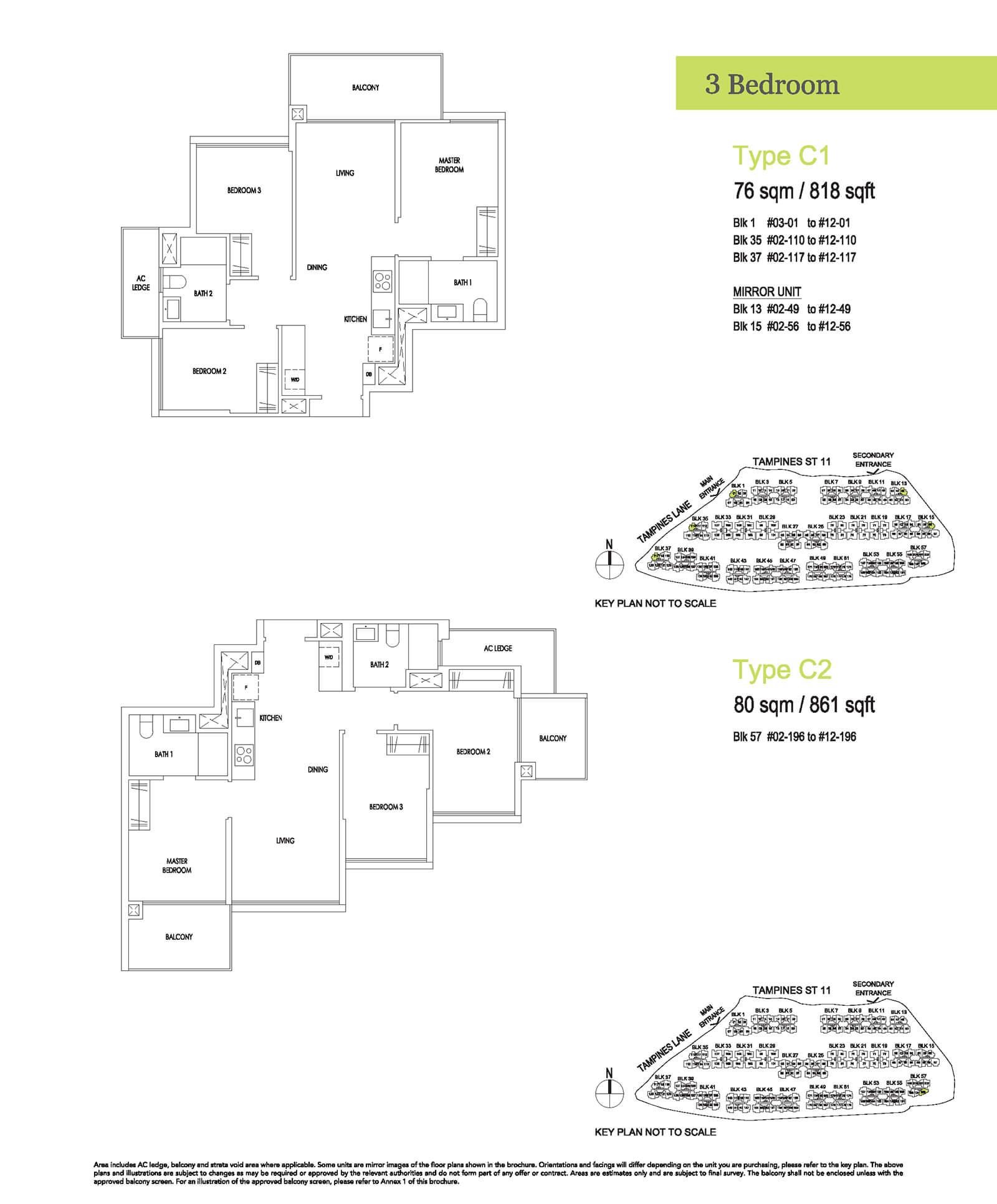 Treasure At Tampines Floor Plan 3-Bedroom C1 C2
