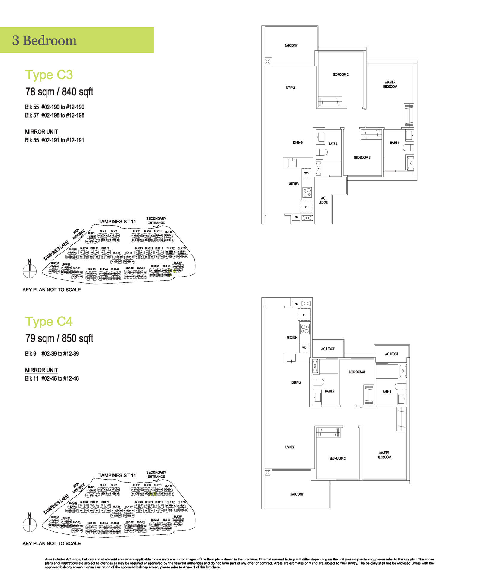 Treasure At Tampines Floor Plan 3-Bedroom C3 C4