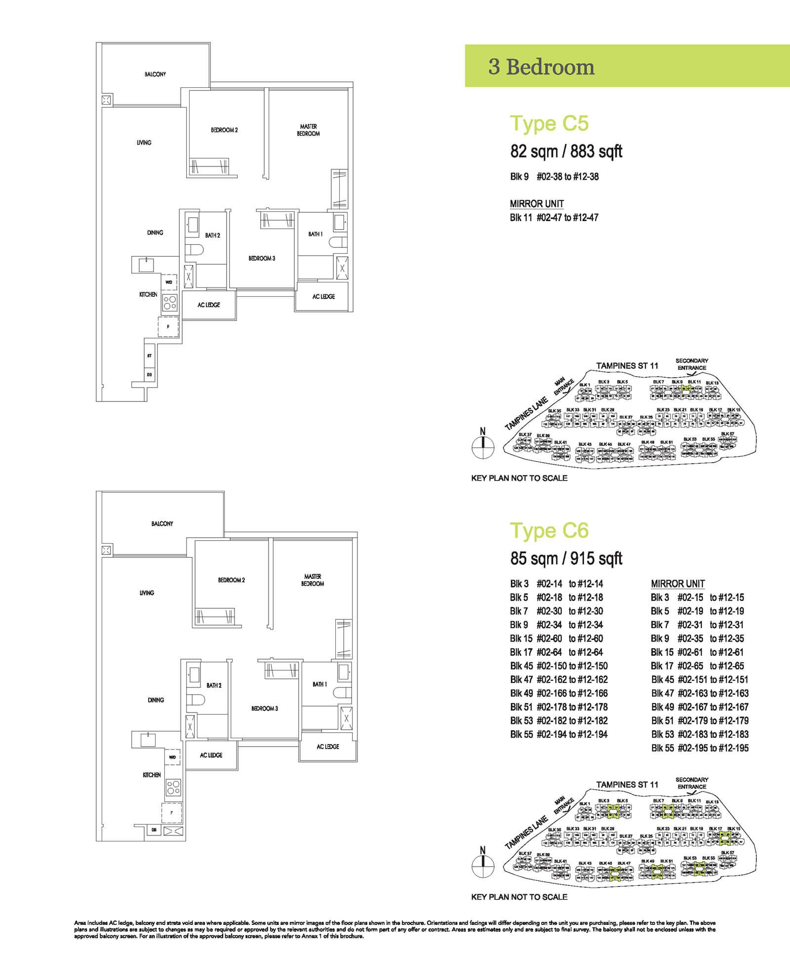 Treasure At Tampines Floor Plan 3-Bedroom C5 C6