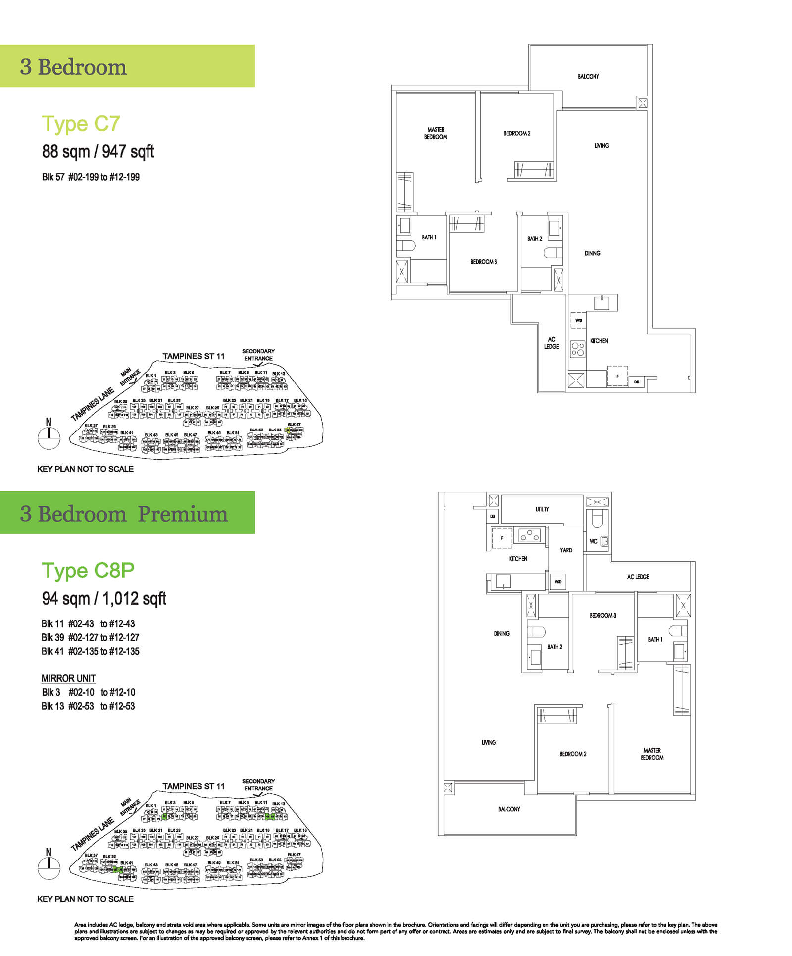 Treasure At Tampines Floor Plan 3-Bedroom Premium C8P