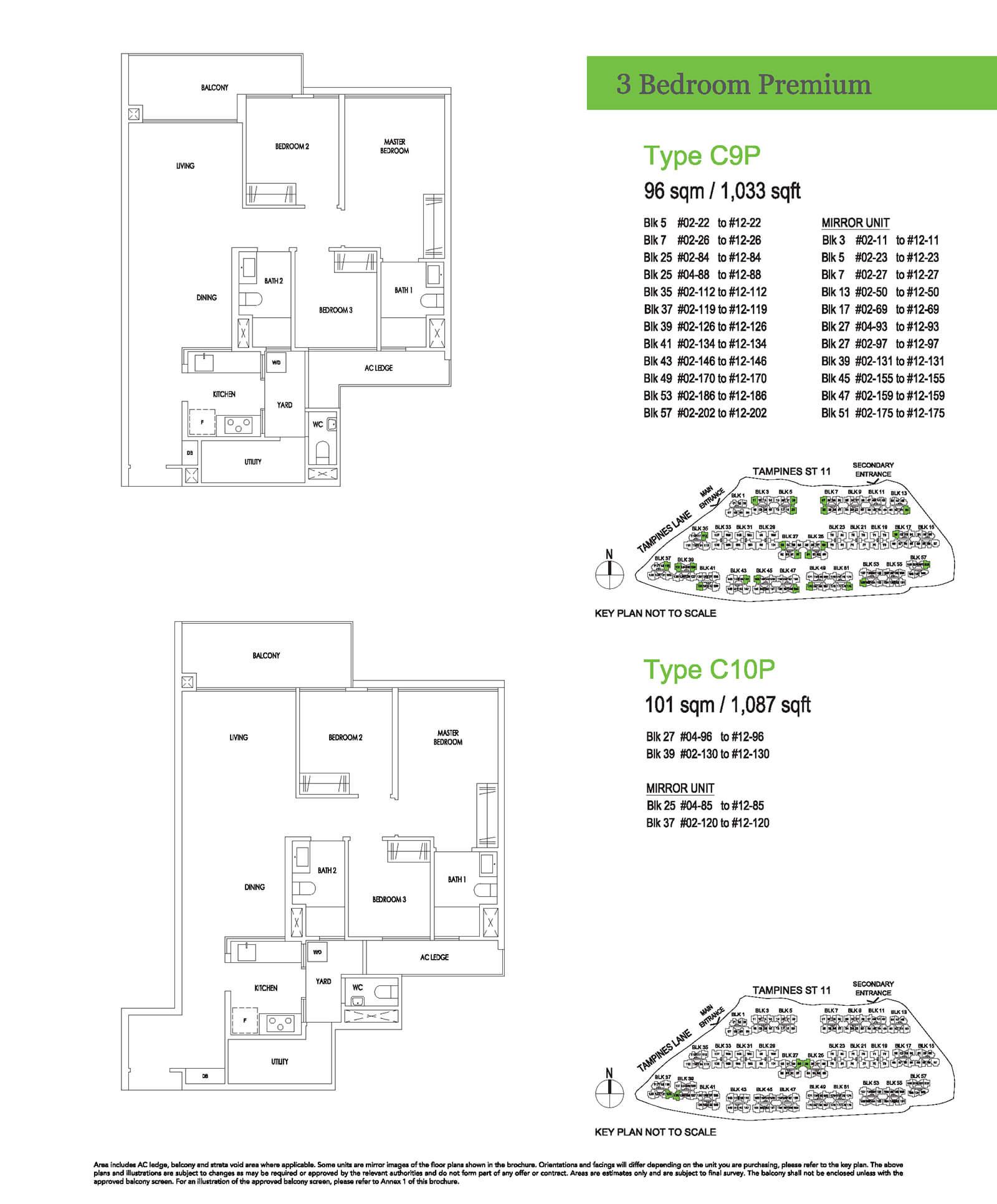 Treasure At Tampines Floor Plan 3-Bedroom Premium C9P C10P