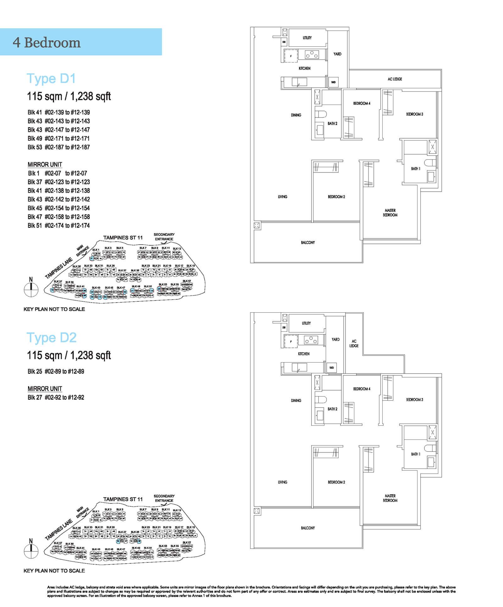 Treasure At Tampines Floor Plan 4-Bedroom D1 D2