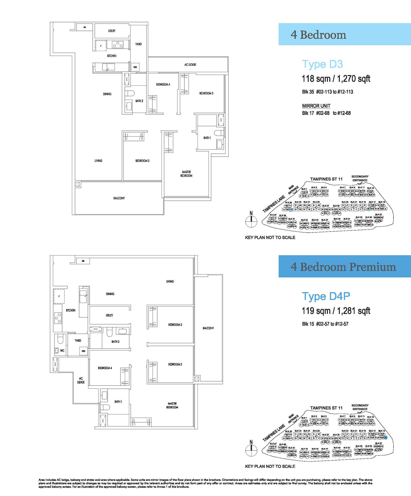 Treasure At Tampines Floor Plan 4-Bedroom Premium D4P