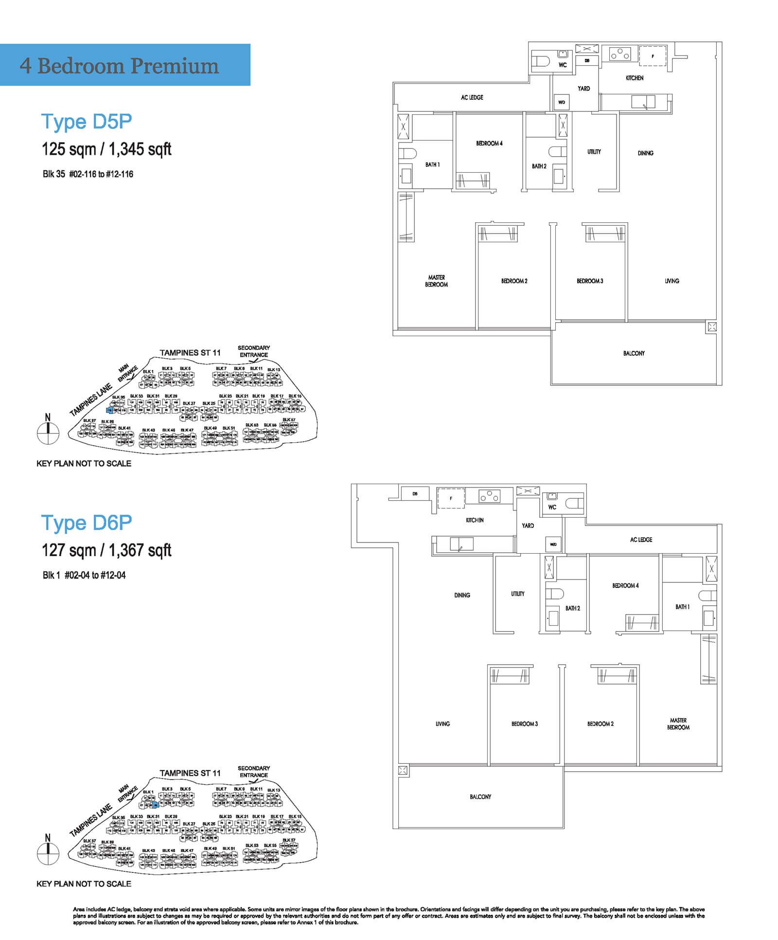 Treasure At Tampines Floor Plan 4-Bedroom Premium D5P D6P