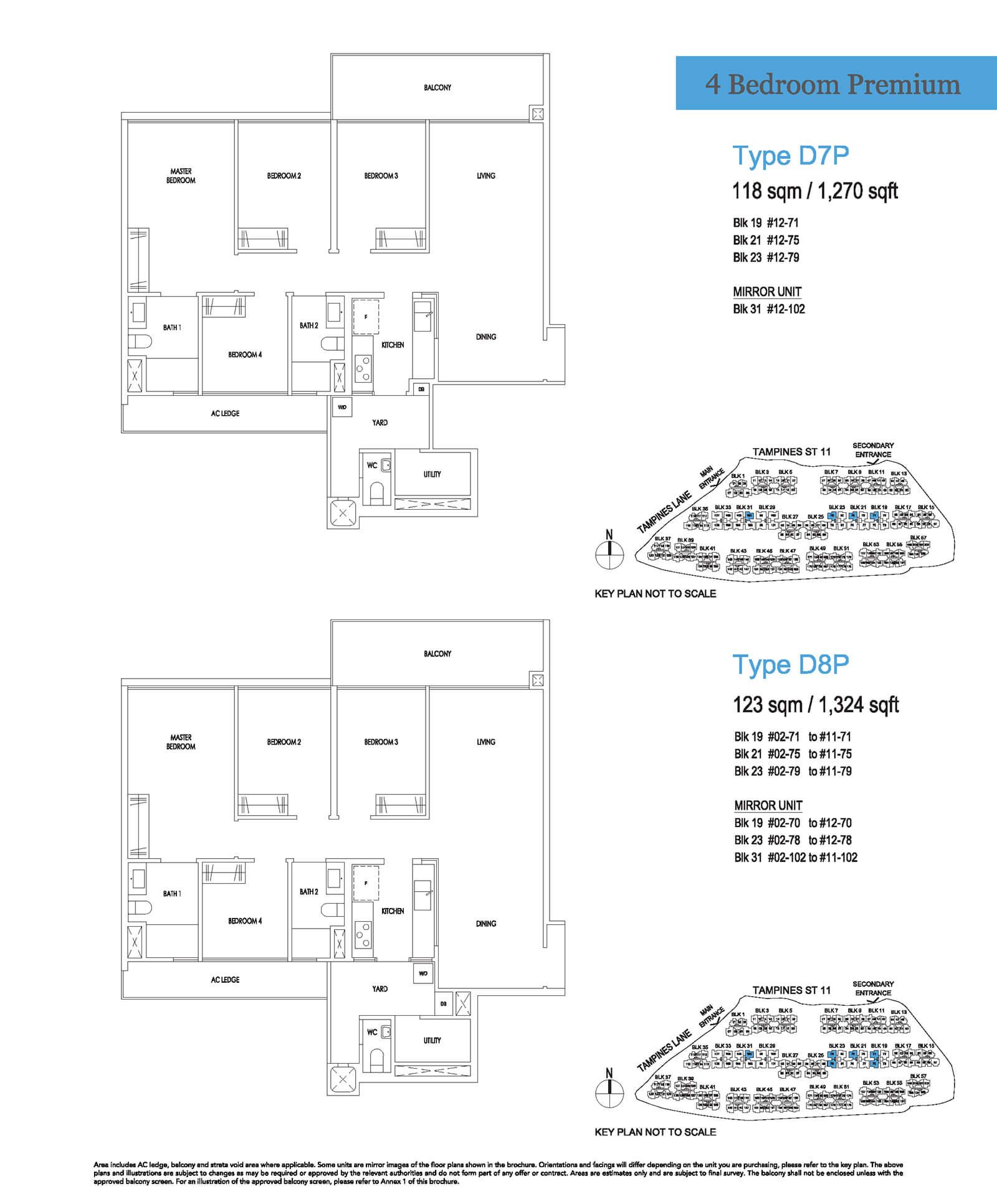 Treasure At Tampines Floor Plan 4-Bedroom Premium D7P D8P