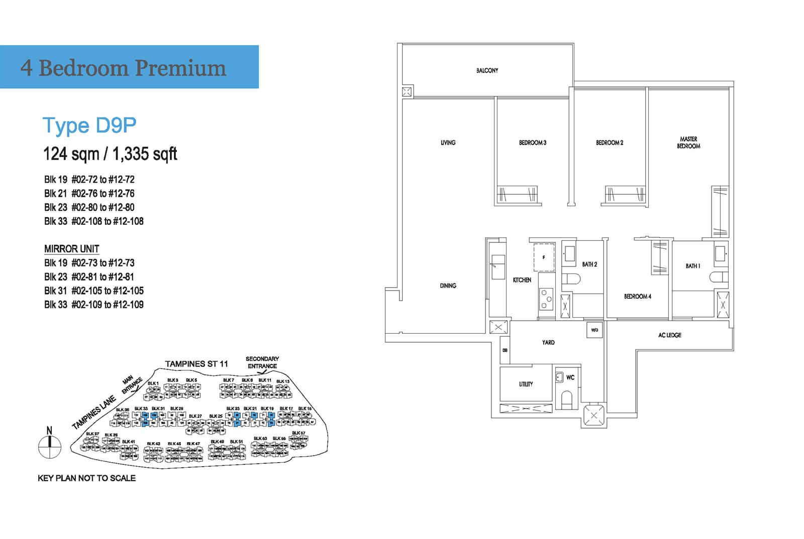 Treasure At Tampines Floor Plan 4-Bedroom Premium D9P