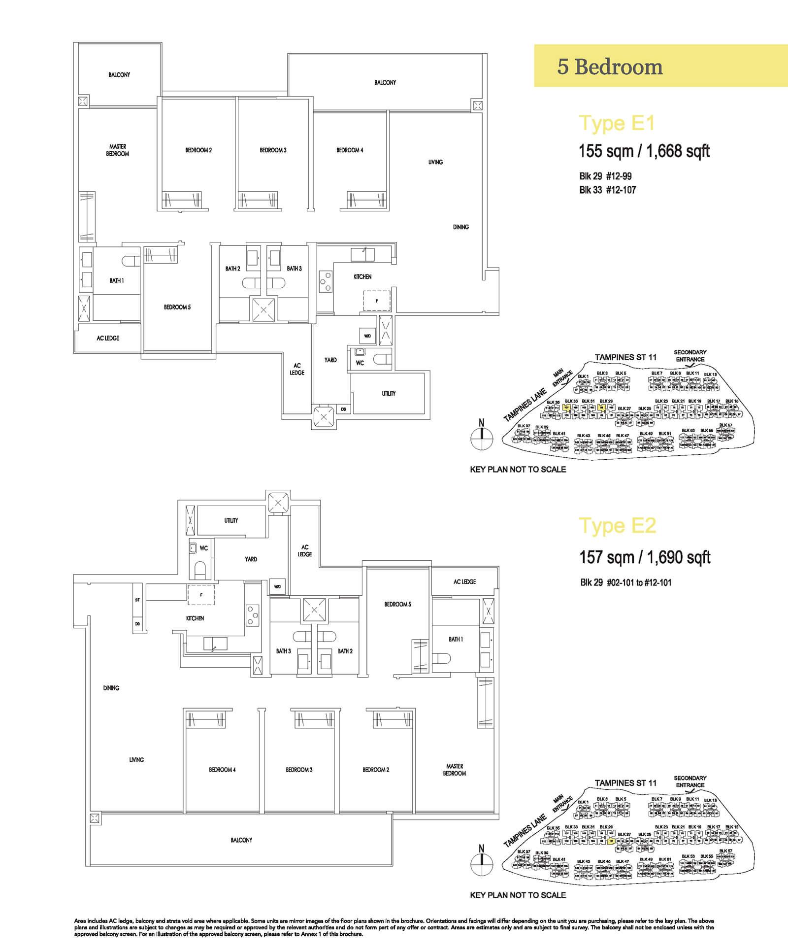 Treasure At Tampines Floor Plan 5-Bedroom E1 E2