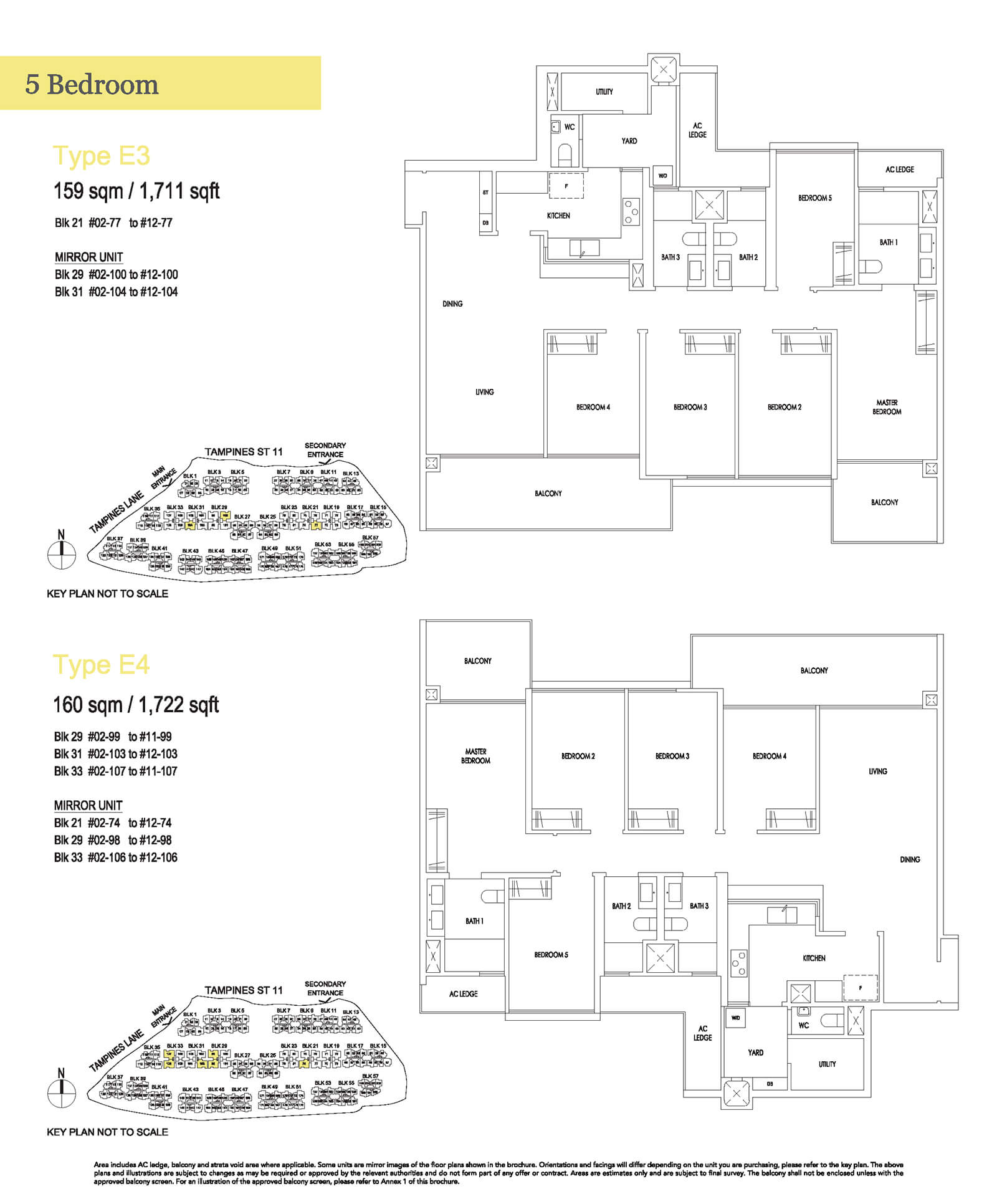 Treasure At Tampines Floor Plan 5-Bedroom E3 E4