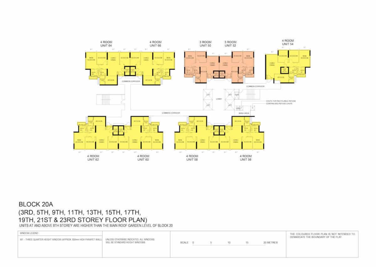 Kallang Breeze Block Plan Block 20A 3rd, 5th, 9th, 11th, 13th, 15th, 17th, 19th, 21st & 23rd Storey
