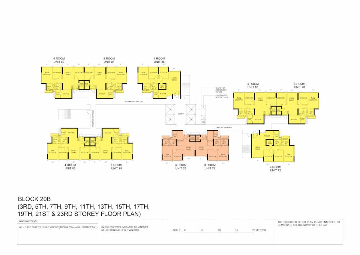 Kallang Breeze Block Plan Block 20B 3rd, 5th, 7th, 9th, 11th, 13th, 15th, 17th, 19th, 21st & 23rd Storey