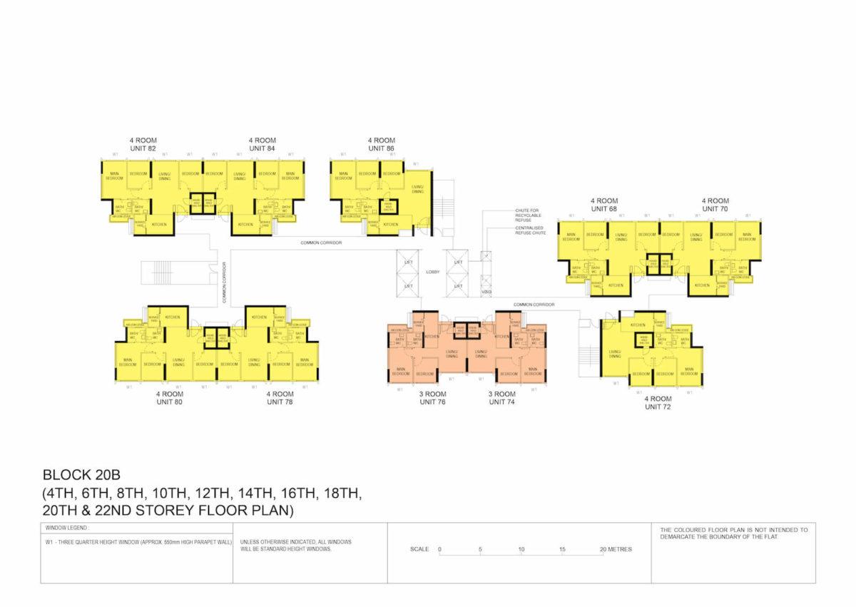 Kallang Breeze Block Plan Block 20B 4th, 6th, 8th, 10th, 12th, 14th, 16th, 18th, 20th & 22nd Storey