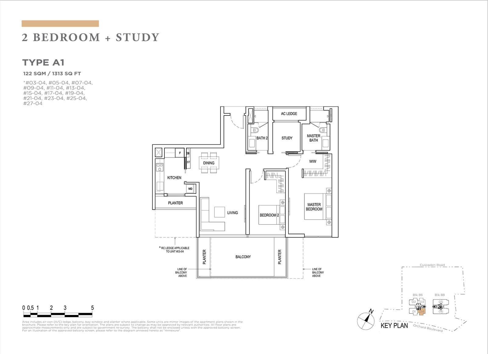 Boulevard 88 Floor Plan 2 Bedroom Study Type A1