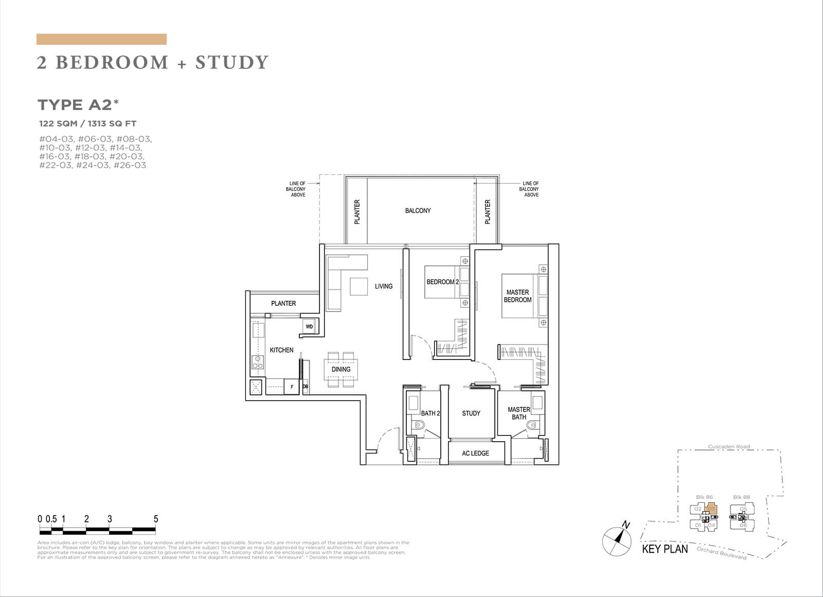 Boulevard 88 Floor Plan 2 Bedroom Study Type A2