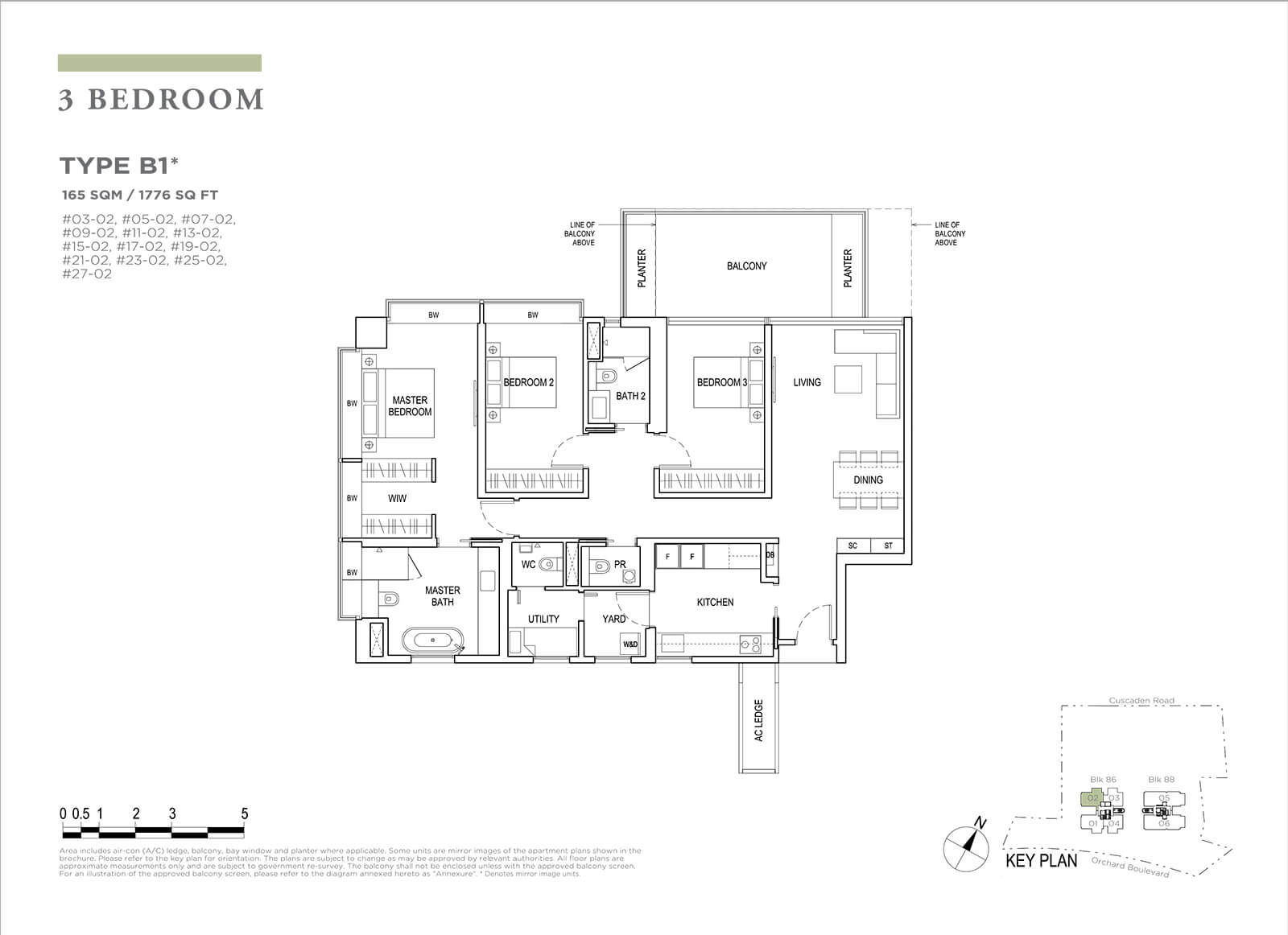 Boulevard 88 Floor Plan 3 Bedroom Type B1