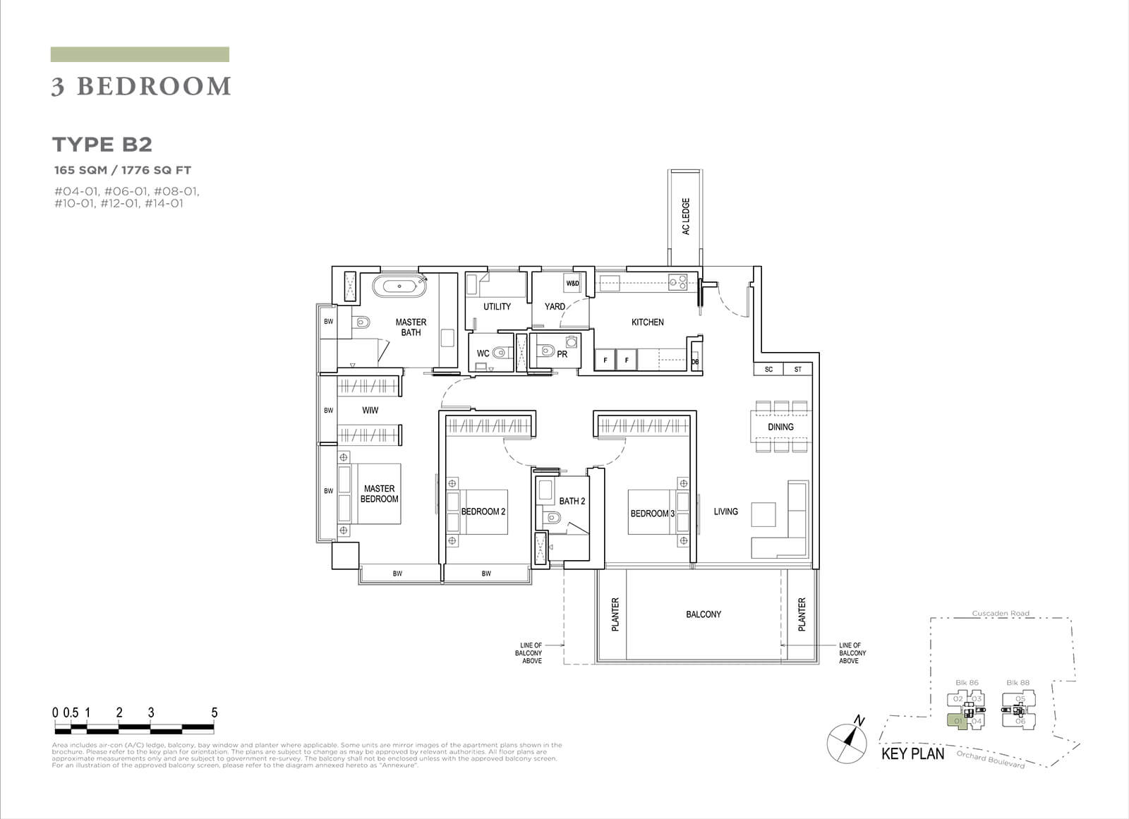 Boulevard 88 Floor Plan 3 Bedroom Type B2