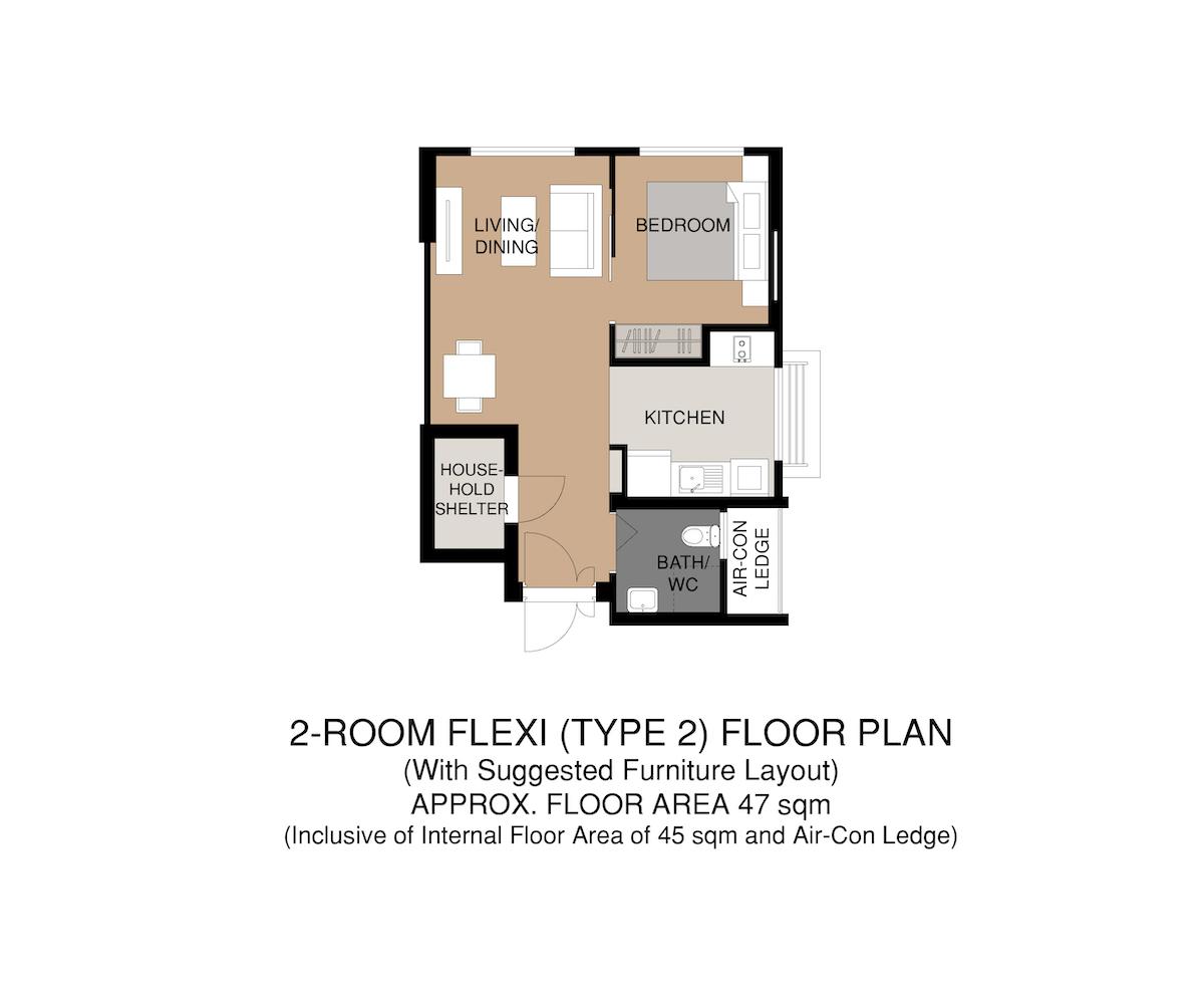 Punggol Point Crown Floor Plan 2-Room Flexi Type 2