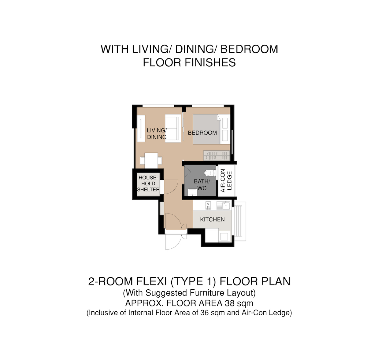 Punggol Point Crown Floor Plan 2-Room Type 1 B38sqm