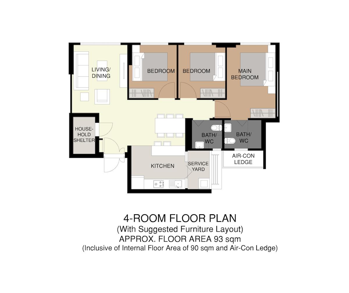 Punggol Point Crown Floor Plan 4-Room 93sqm