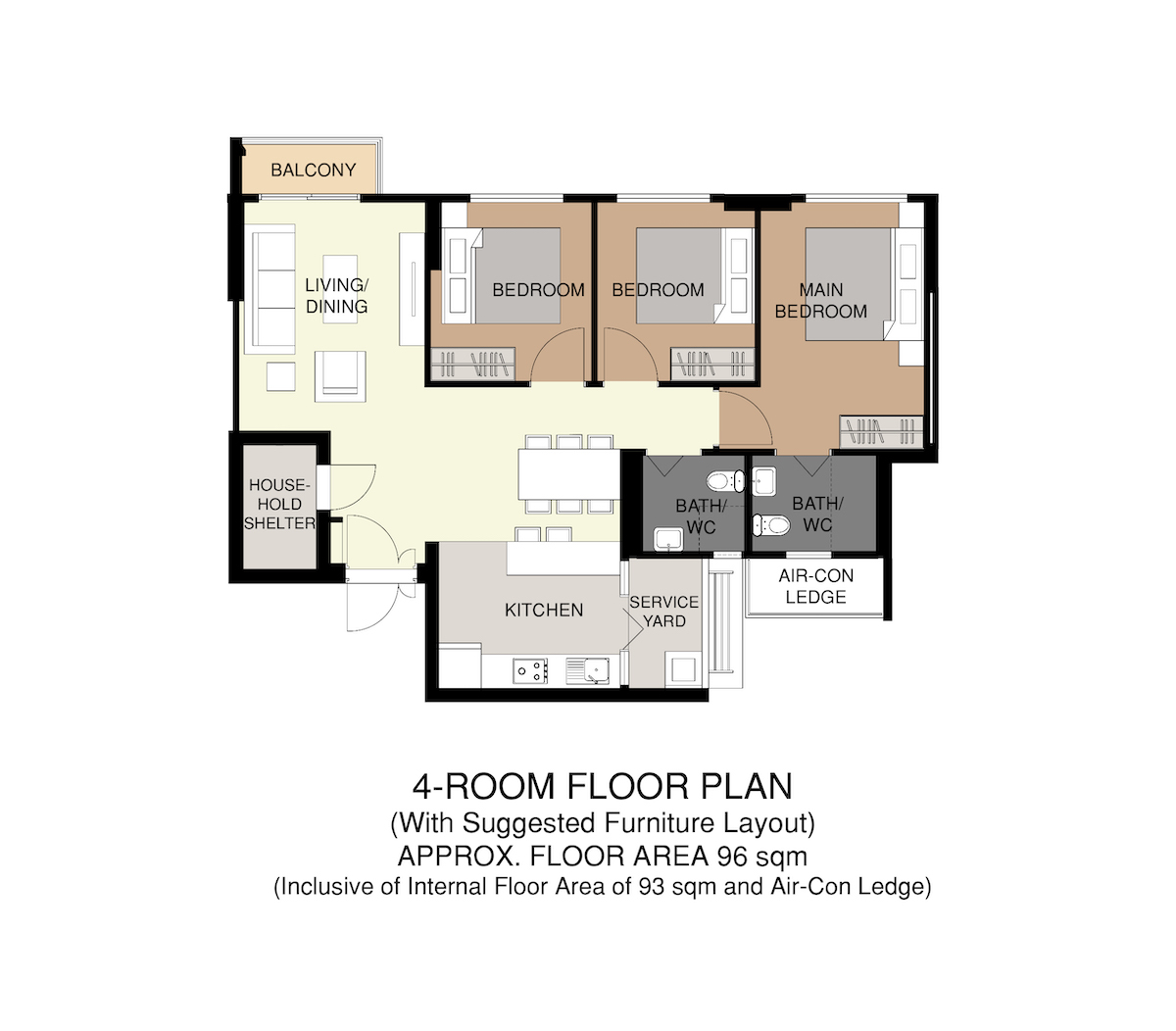 Punggol Point Crown Floor Plan 4-Room 96sqm