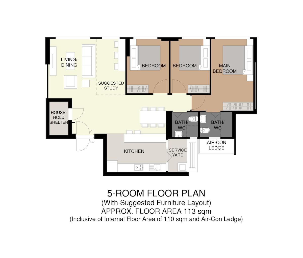 Punggol Point Crown Floor Plan 5-Room