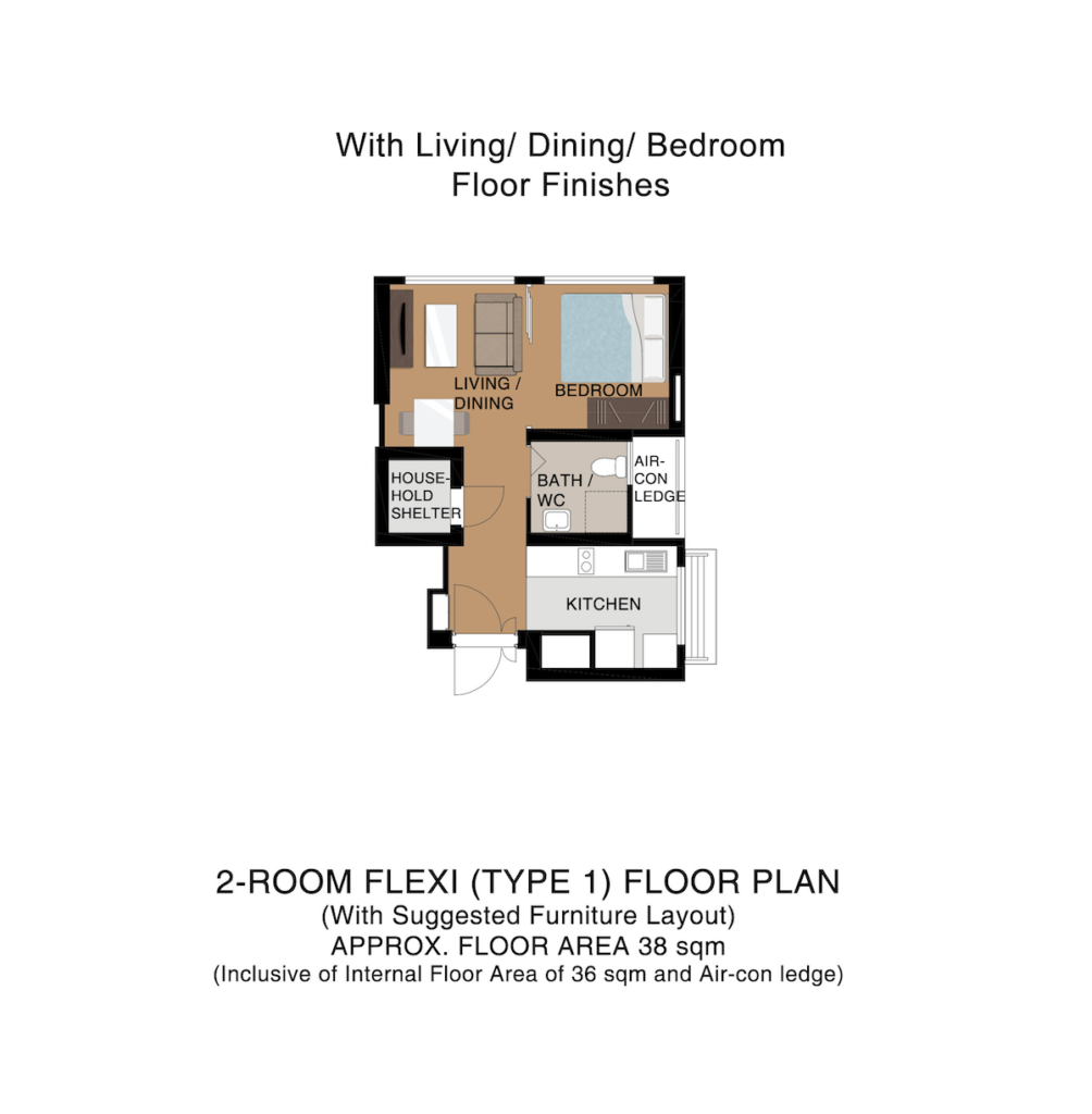 Punggol Point Cove Floor Plan 2-Room Type 1 38sqm