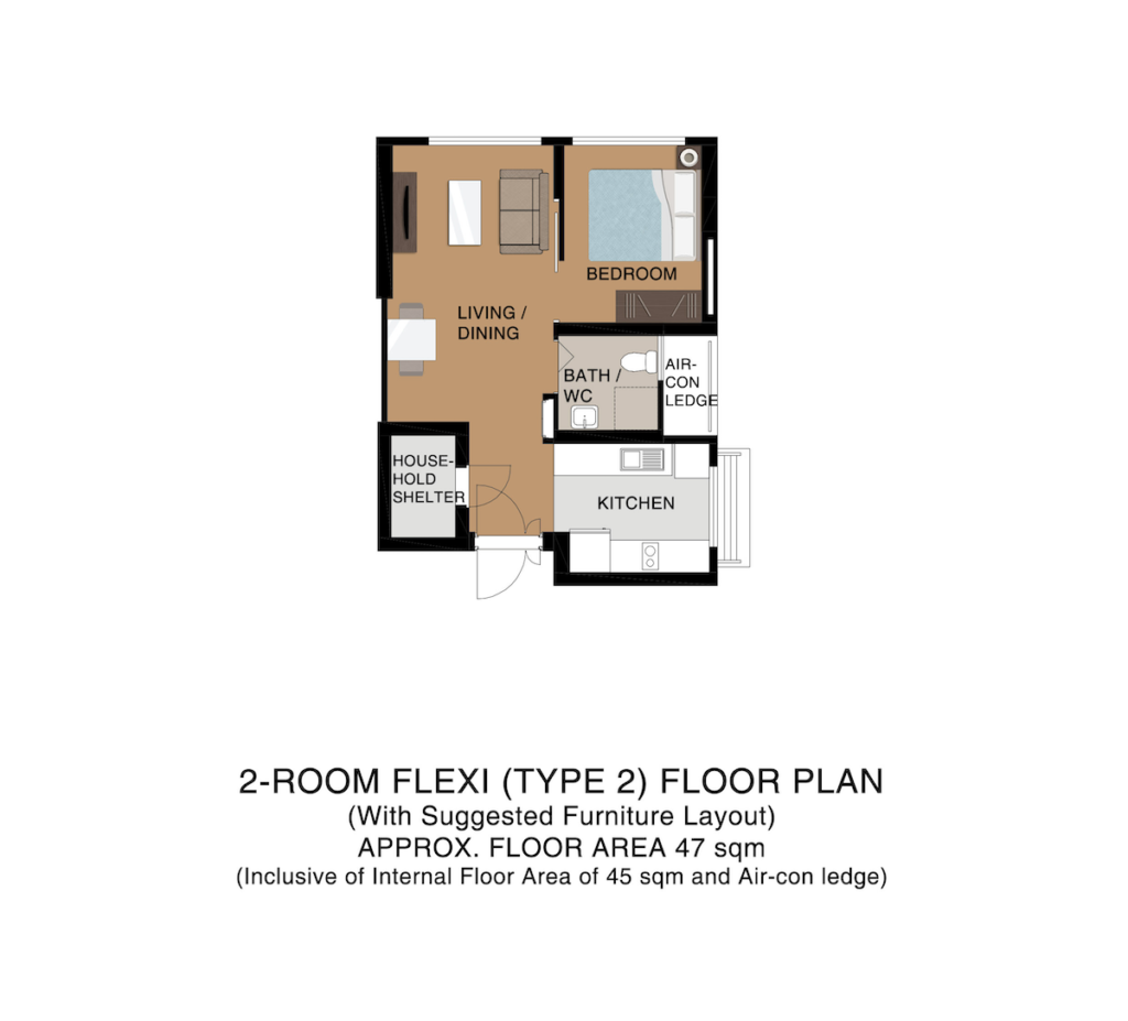 Punggol Point Cove Floor Plan 2-Room Type 2 47sqm