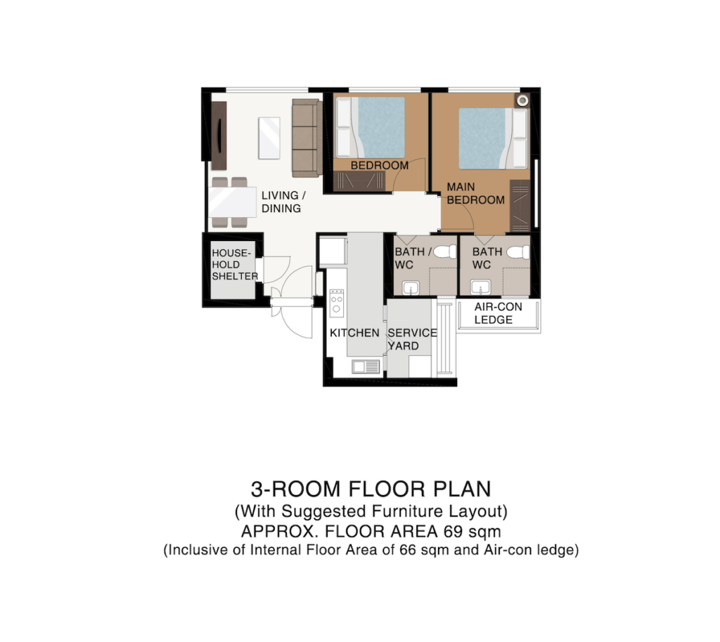 Punggol Point Cove Floor Plan 3-Room 69sqm