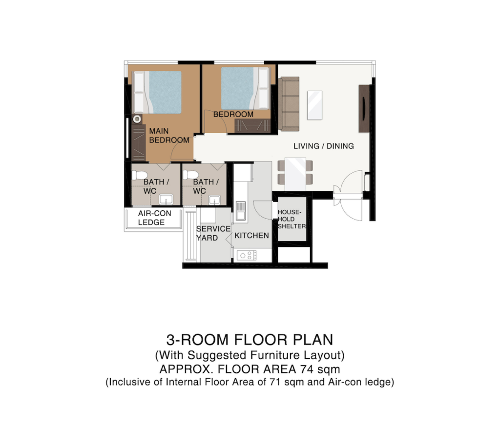 Punggol Point Cove Floor Plan 3-Room 74sqm