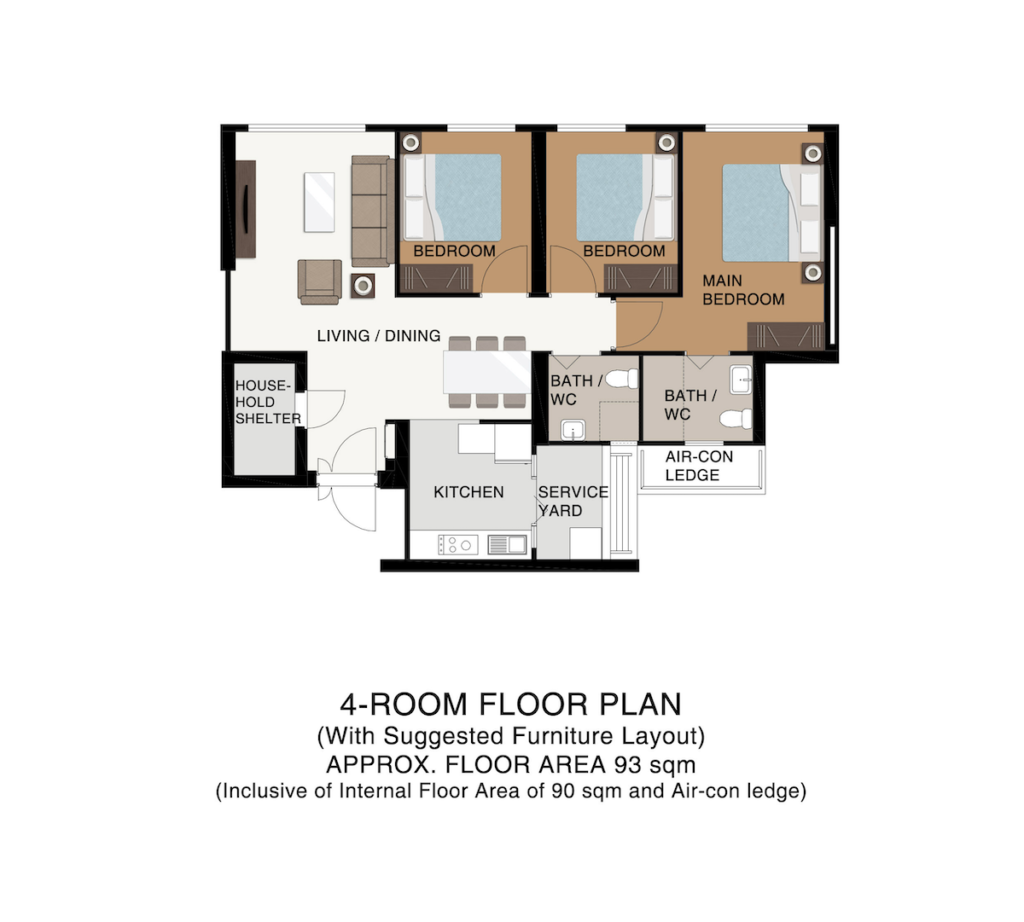Punggol Point Cove Floor Plan 4-Room 93sqm