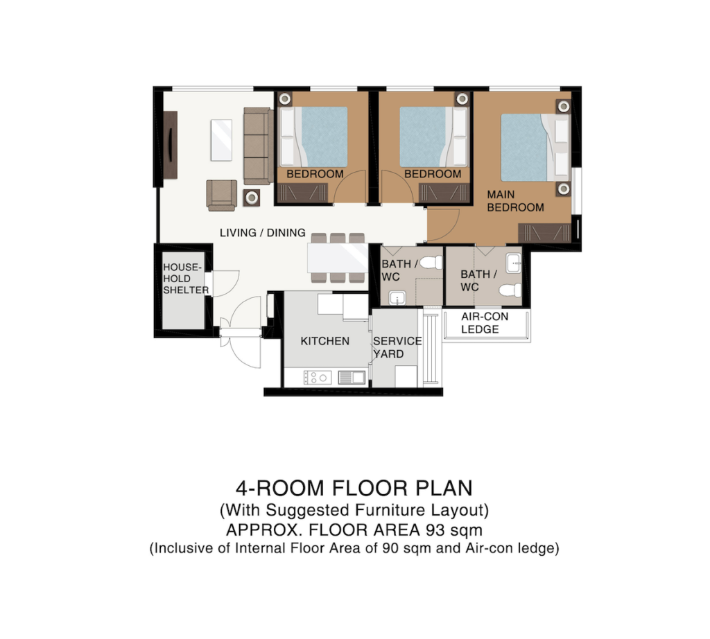 Punggol Point Cove Floor Plan 4-Room B93sqm