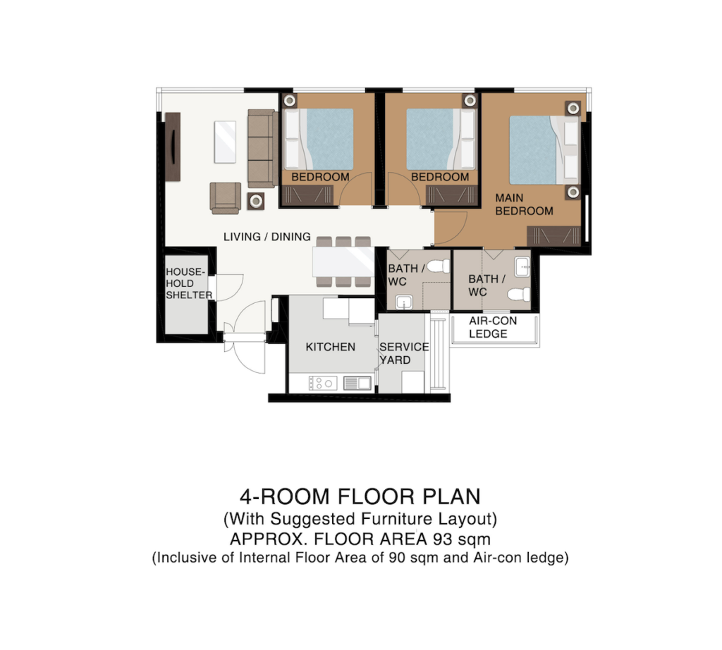 Punggol Point Cove Floor Plan 4-Room C93sqm
