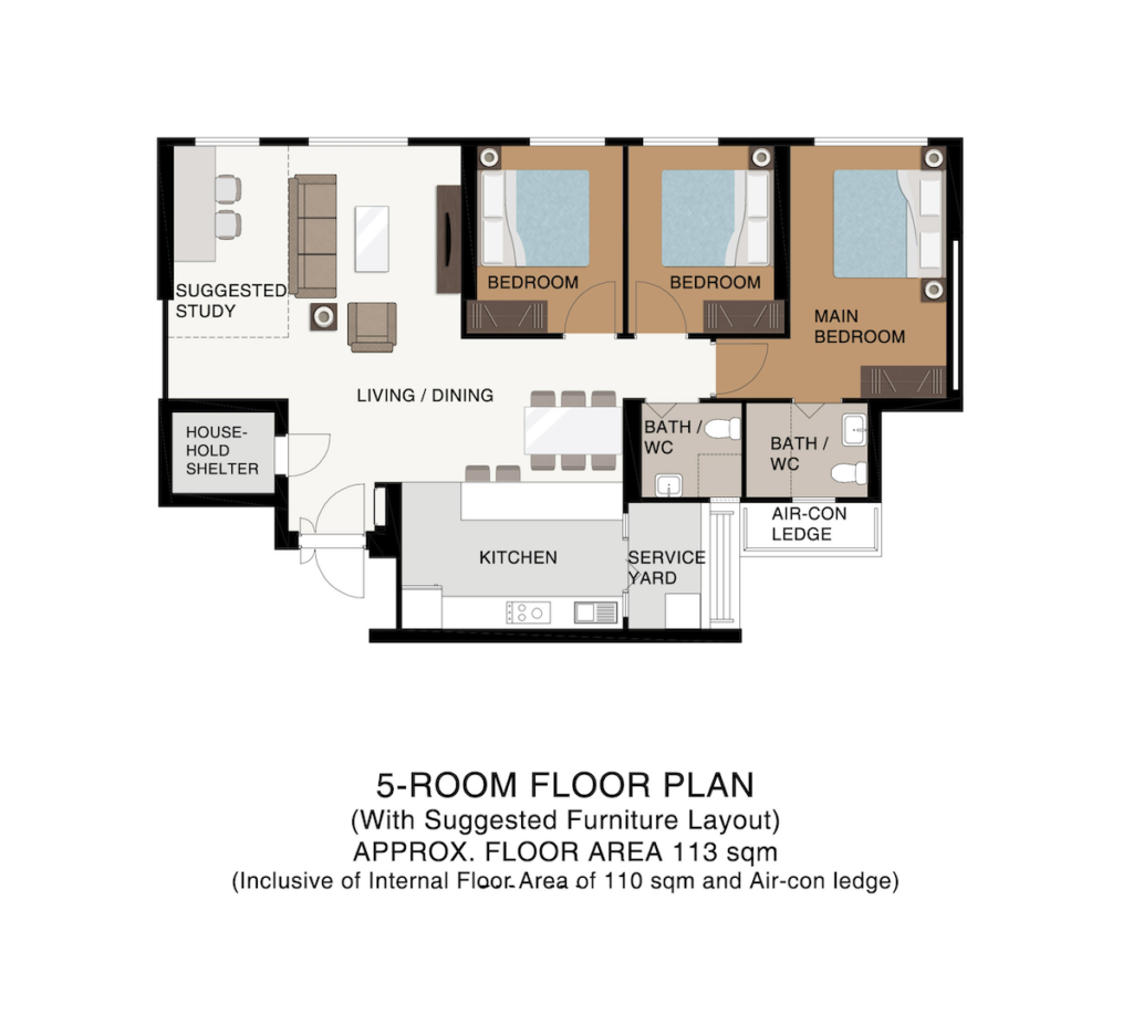 Punggol Point Cove Floor Plan 5-Room 113sqm
