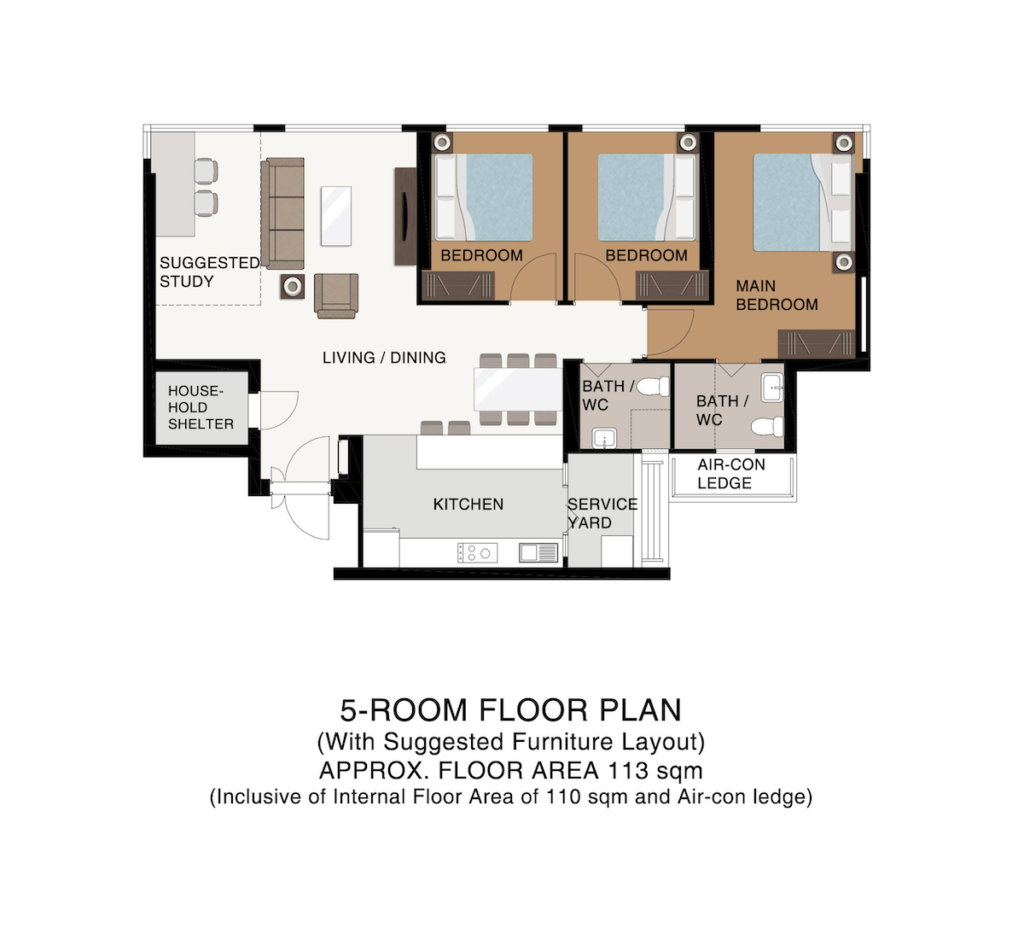 Punggol Point Cove Floor Plan 5-Room B113sqm