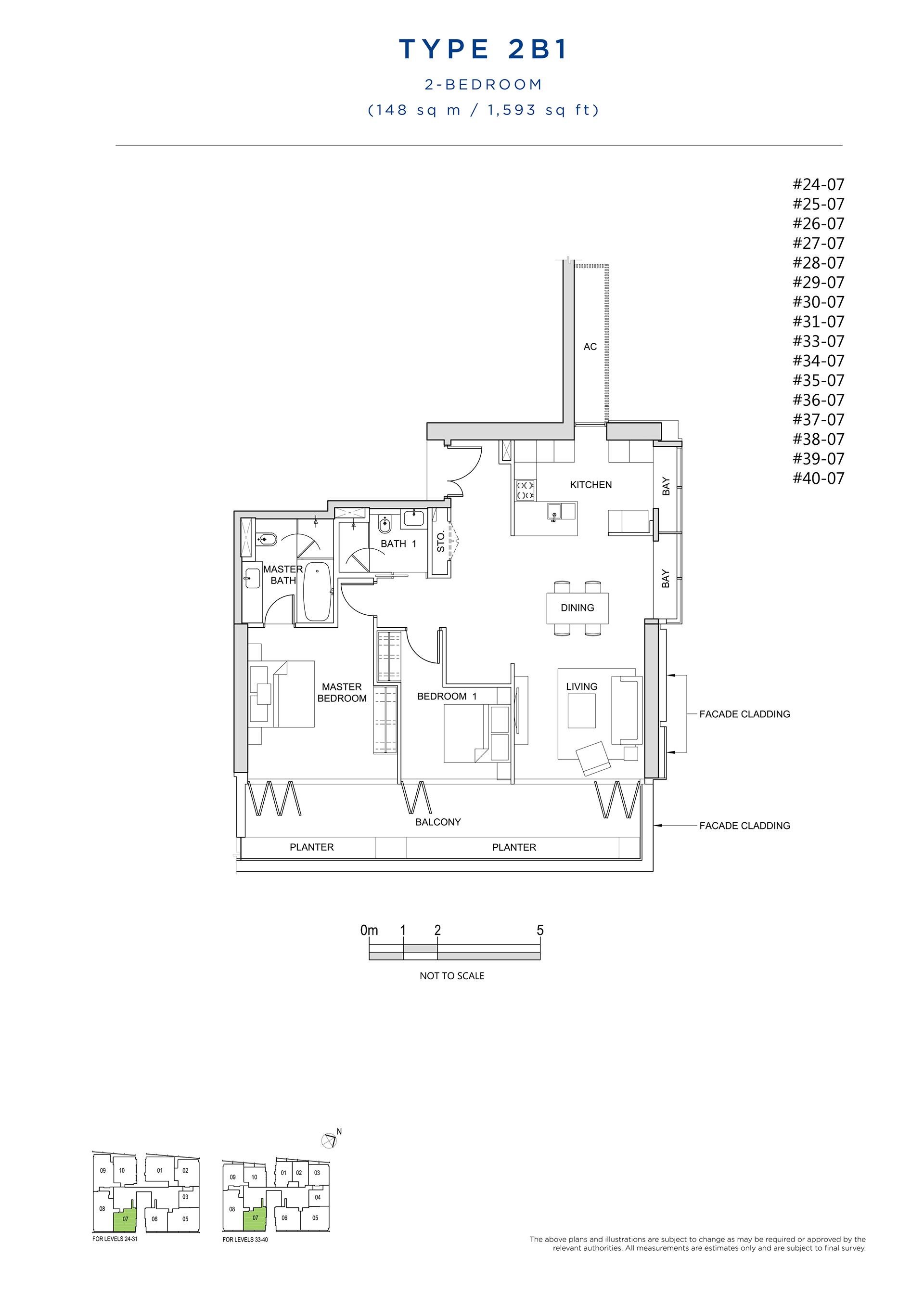 South Beach Residences 2 Bedroom Floor Plan Type 2B1