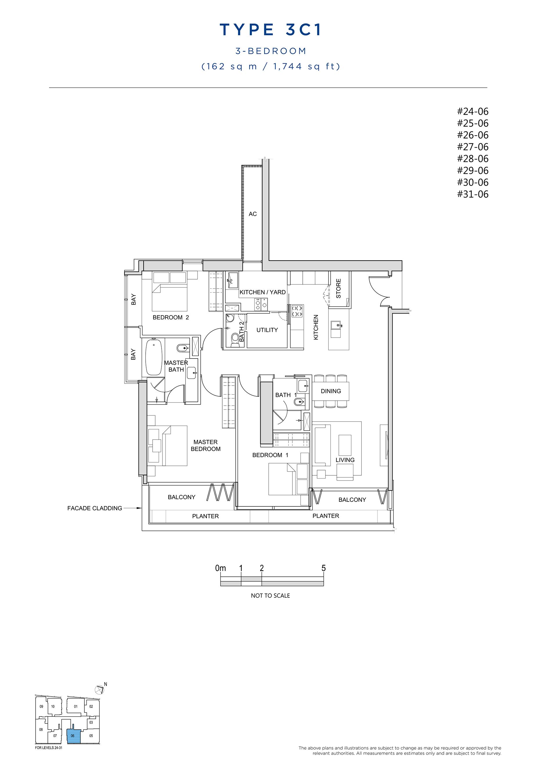 South Beach Residences 3 Bedroom Floor Plan Type 3C1