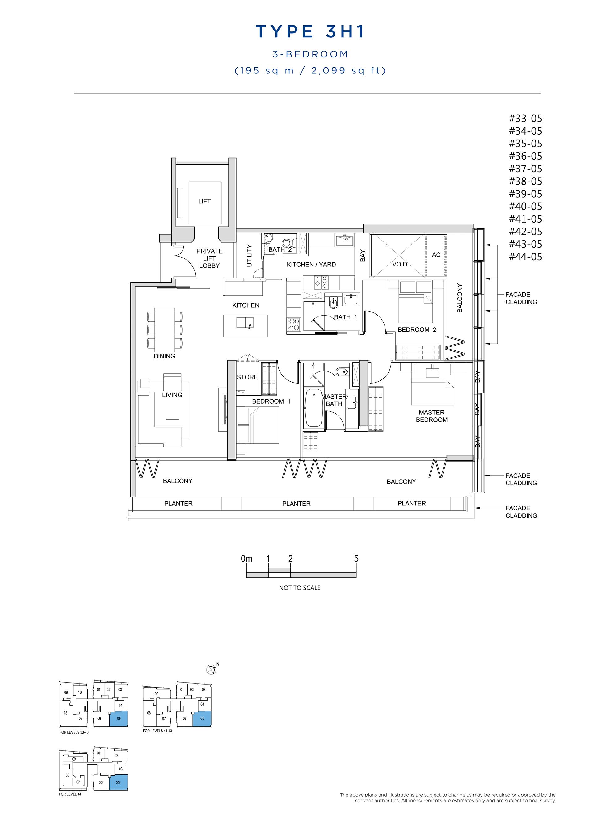 South Beach Residences 3 Bedroom Floor Plan Type 3H1