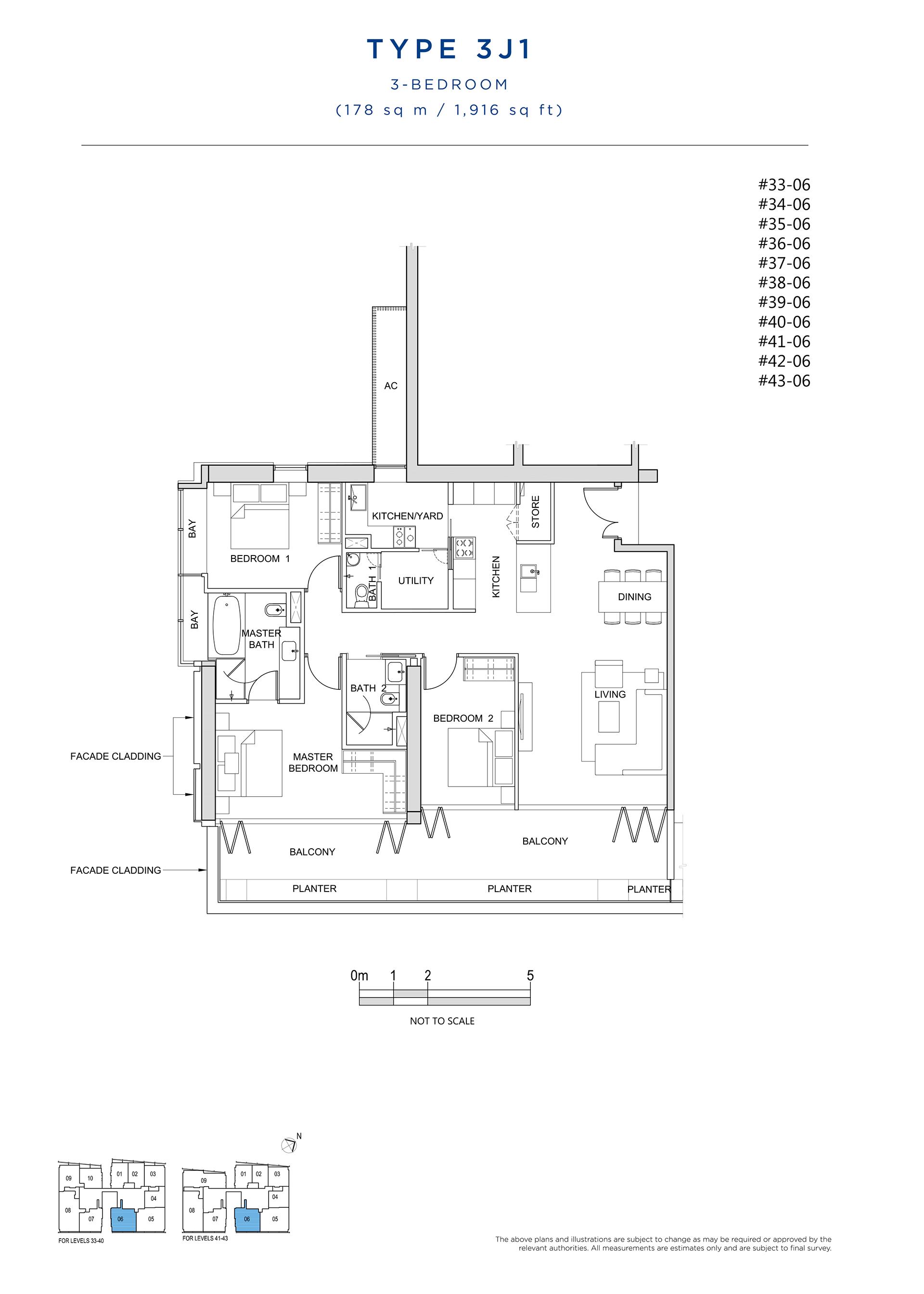 South Beach Residences 3 Bedroom Floor Plan Type 3J1