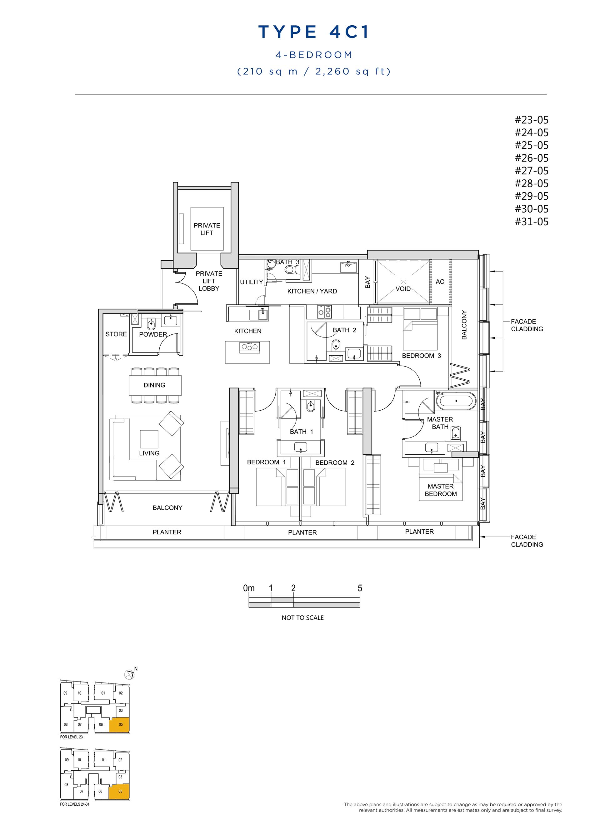 South Beach Residences 4 Bedroom Floor Plan Type 4C1