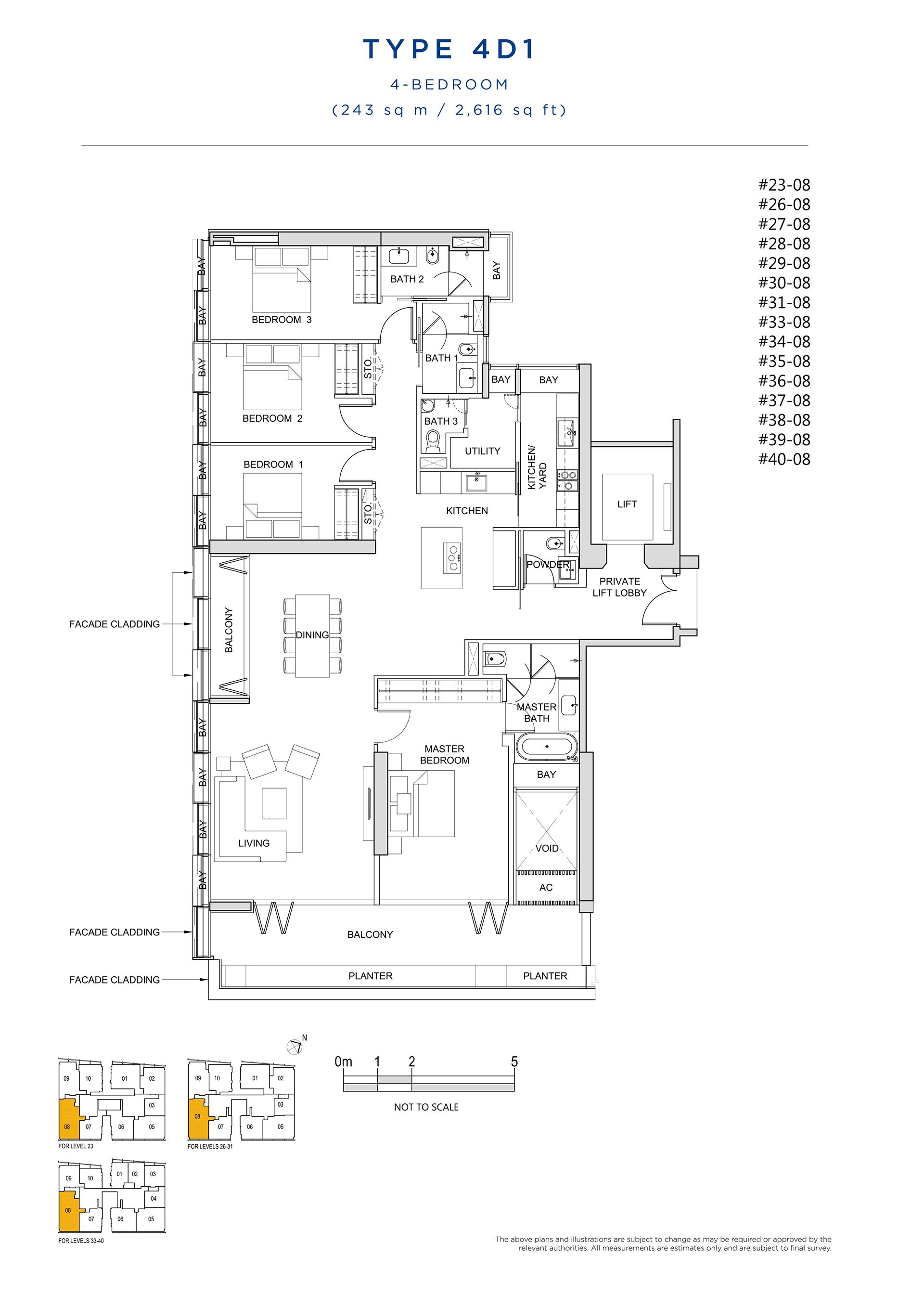 South Beach Residences 4 Bedroom Floor Plan Type 4D1