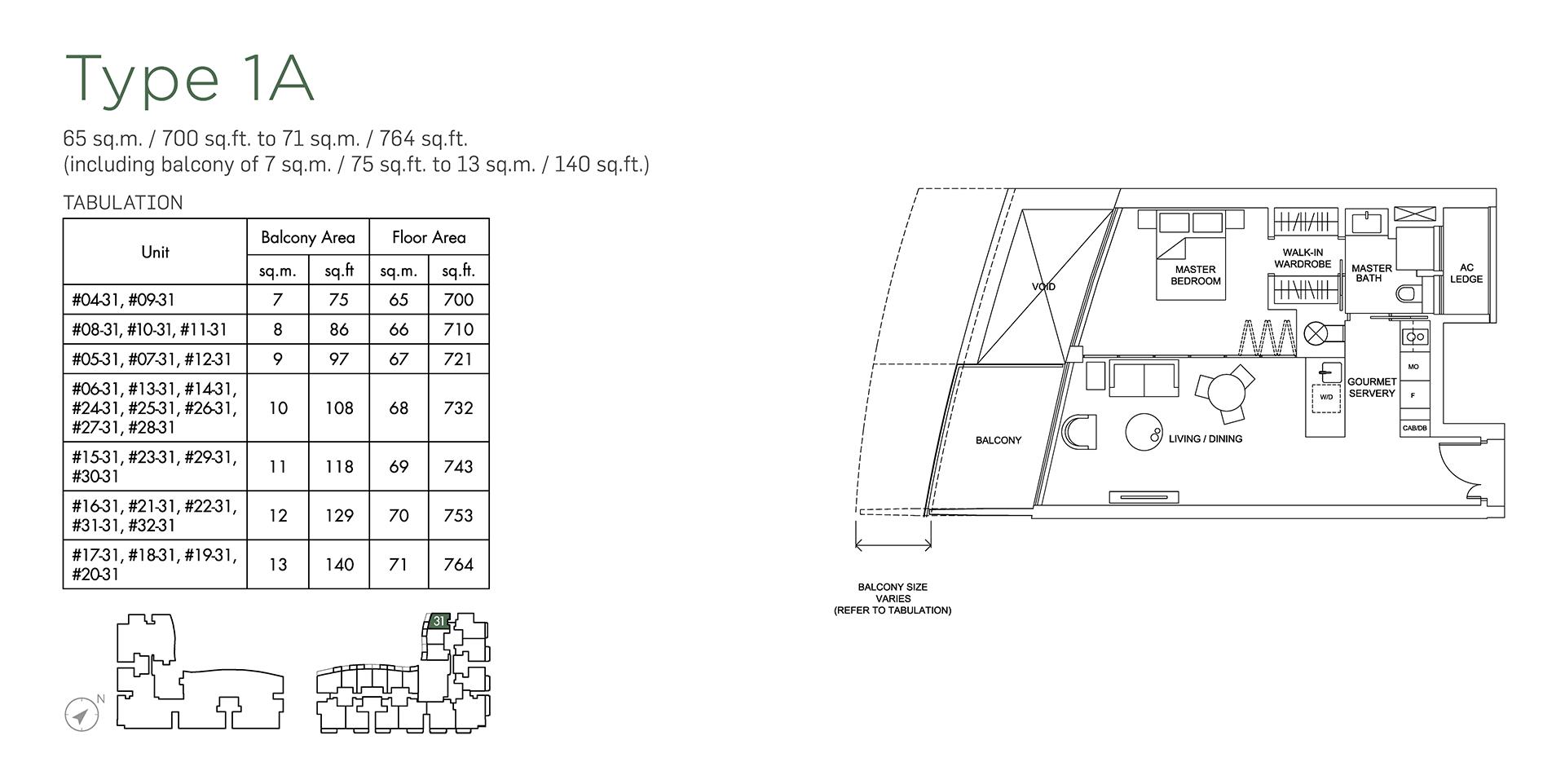 Marina One Residences Floor Plan 1 Bedroom Type1A