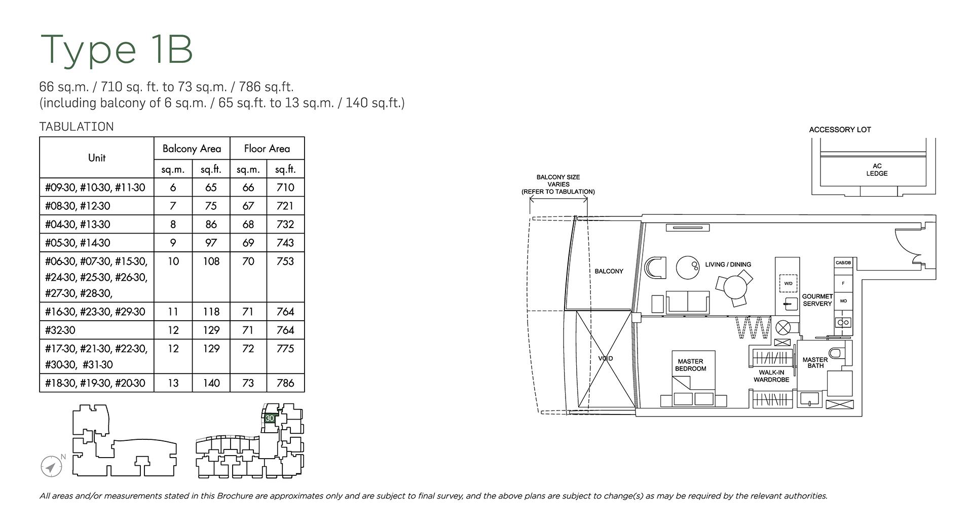 Marina One Residences Floor Plan 1 Bedroom Type1B